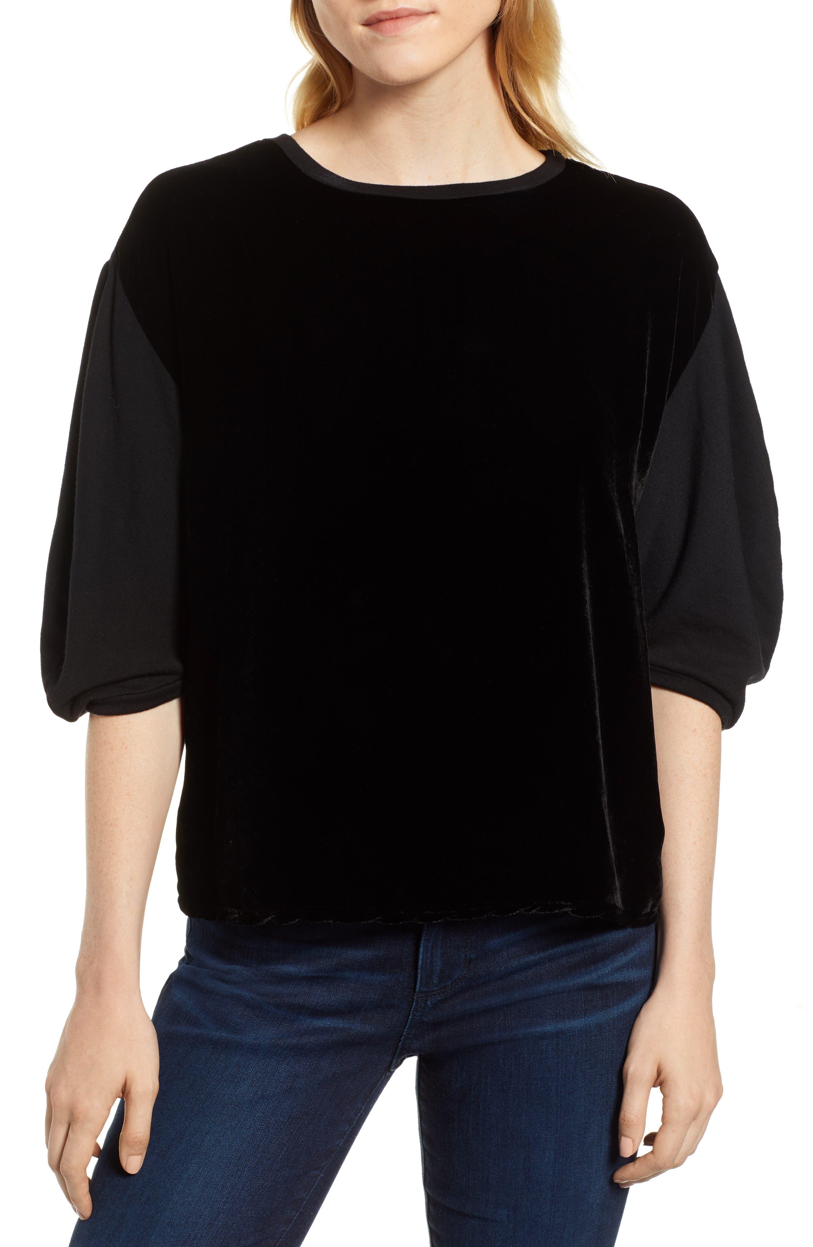 Velvet & Fleece Half Sleeve Top,                             Main thumbnail 1, color,                             BLACK