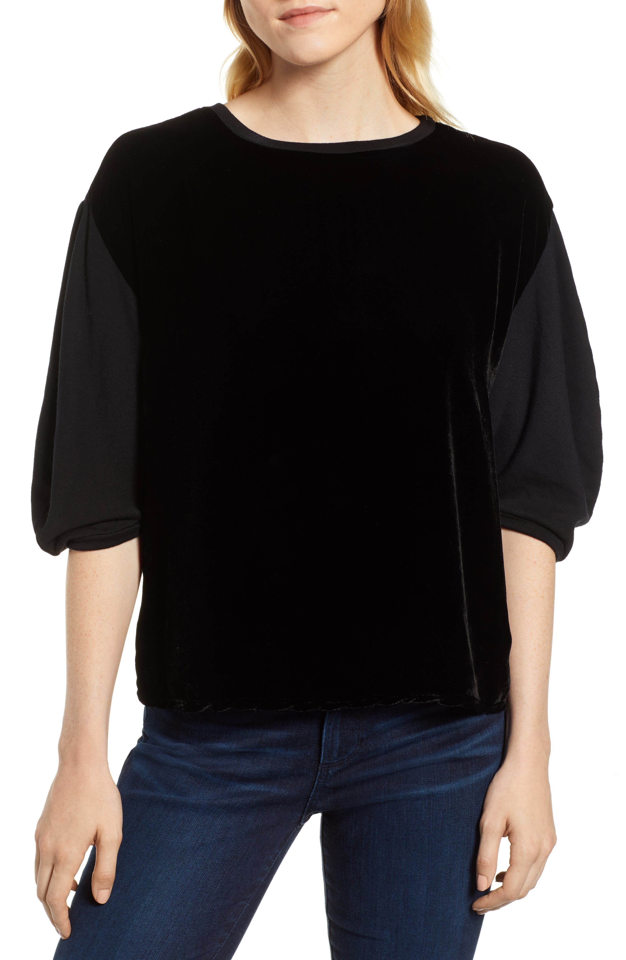 Velvet & Fleece Half Sleeve Top,                         Main,                         color, BLACK