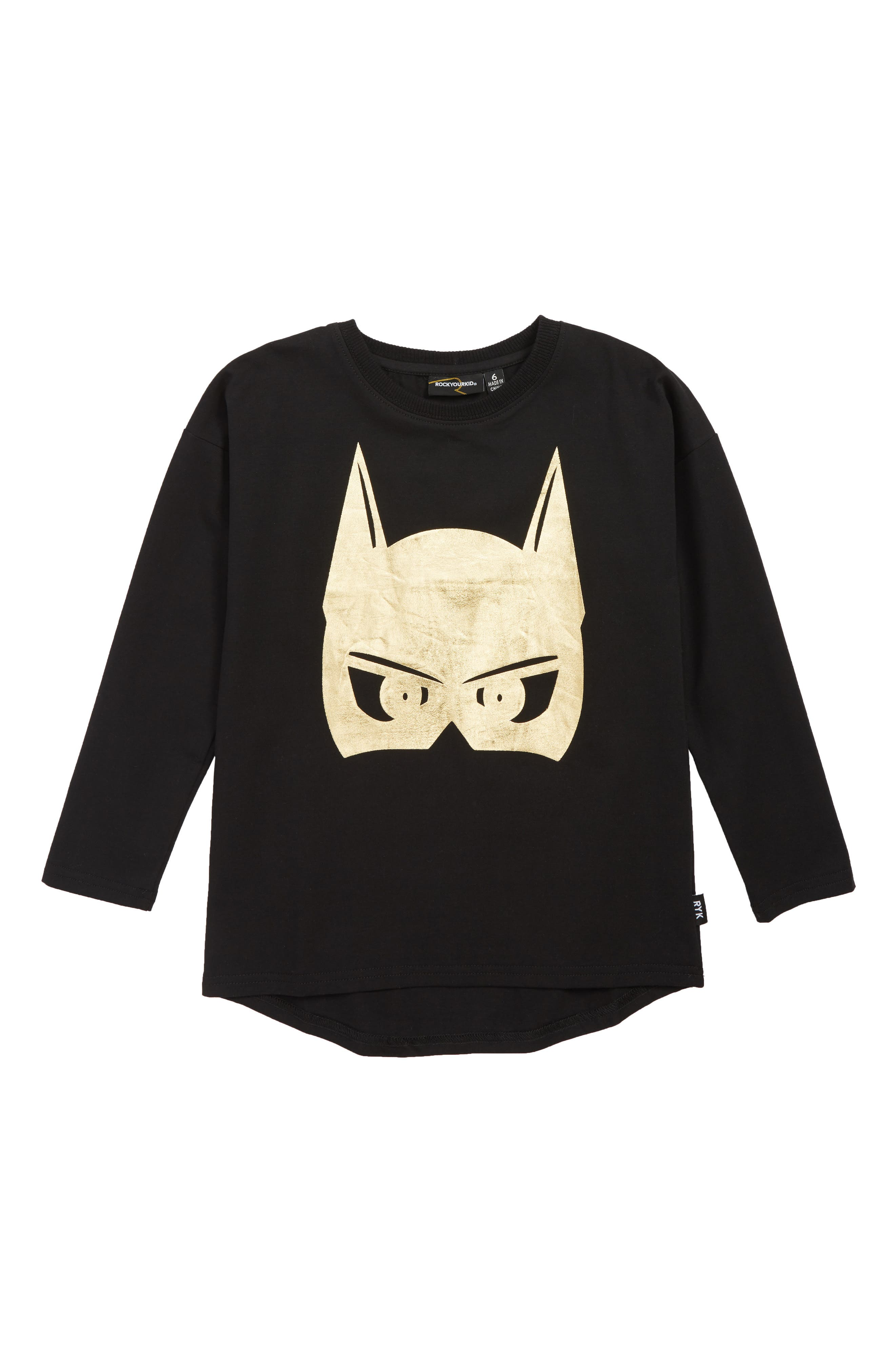 Rock Your Kid Caped Crusader T-Shirt,                         Main,                         color, BLACK