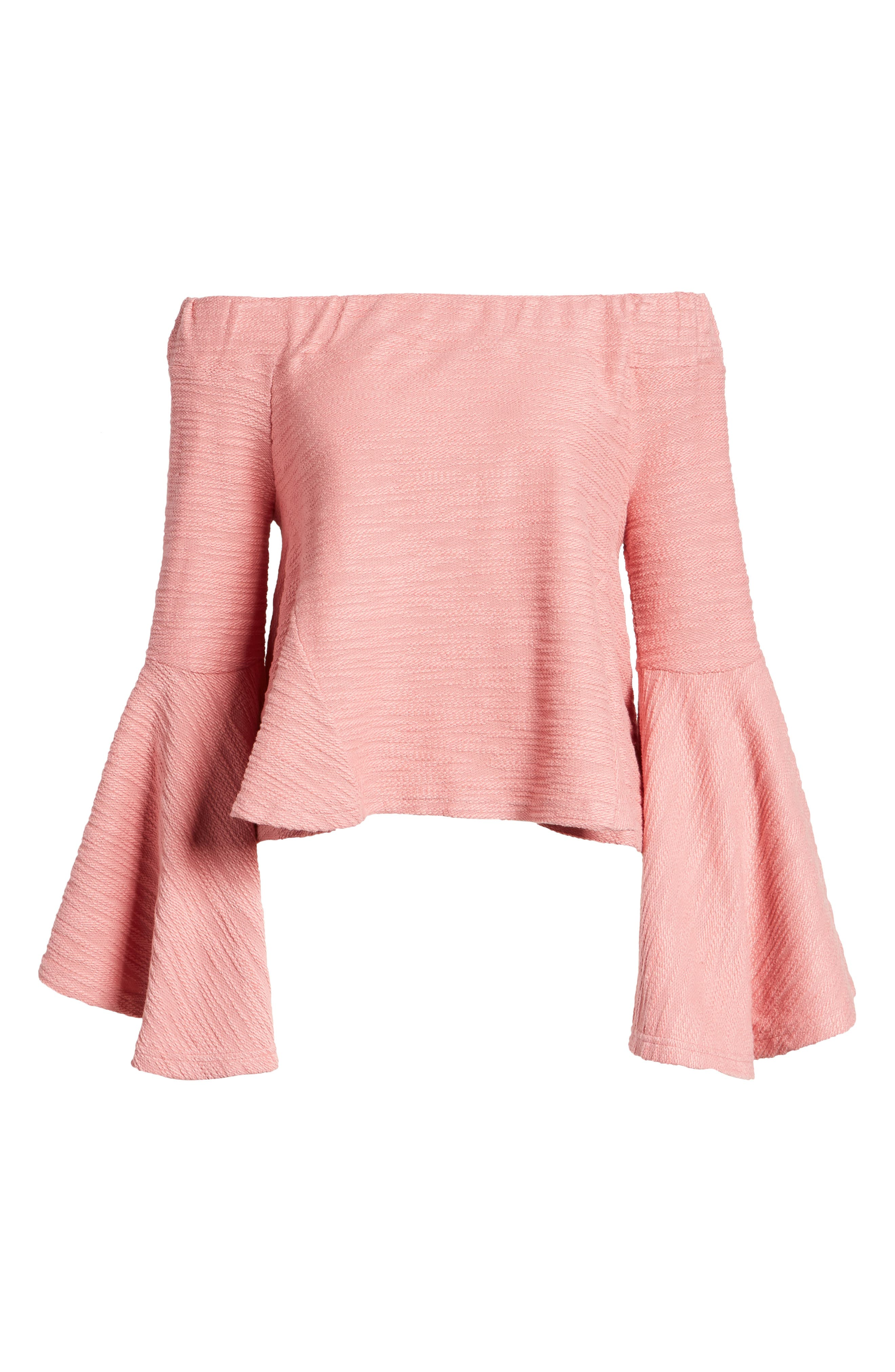 Off the Shoulder Bell Sleeve Top,                             Alternate thumbnail 6, color,                             650