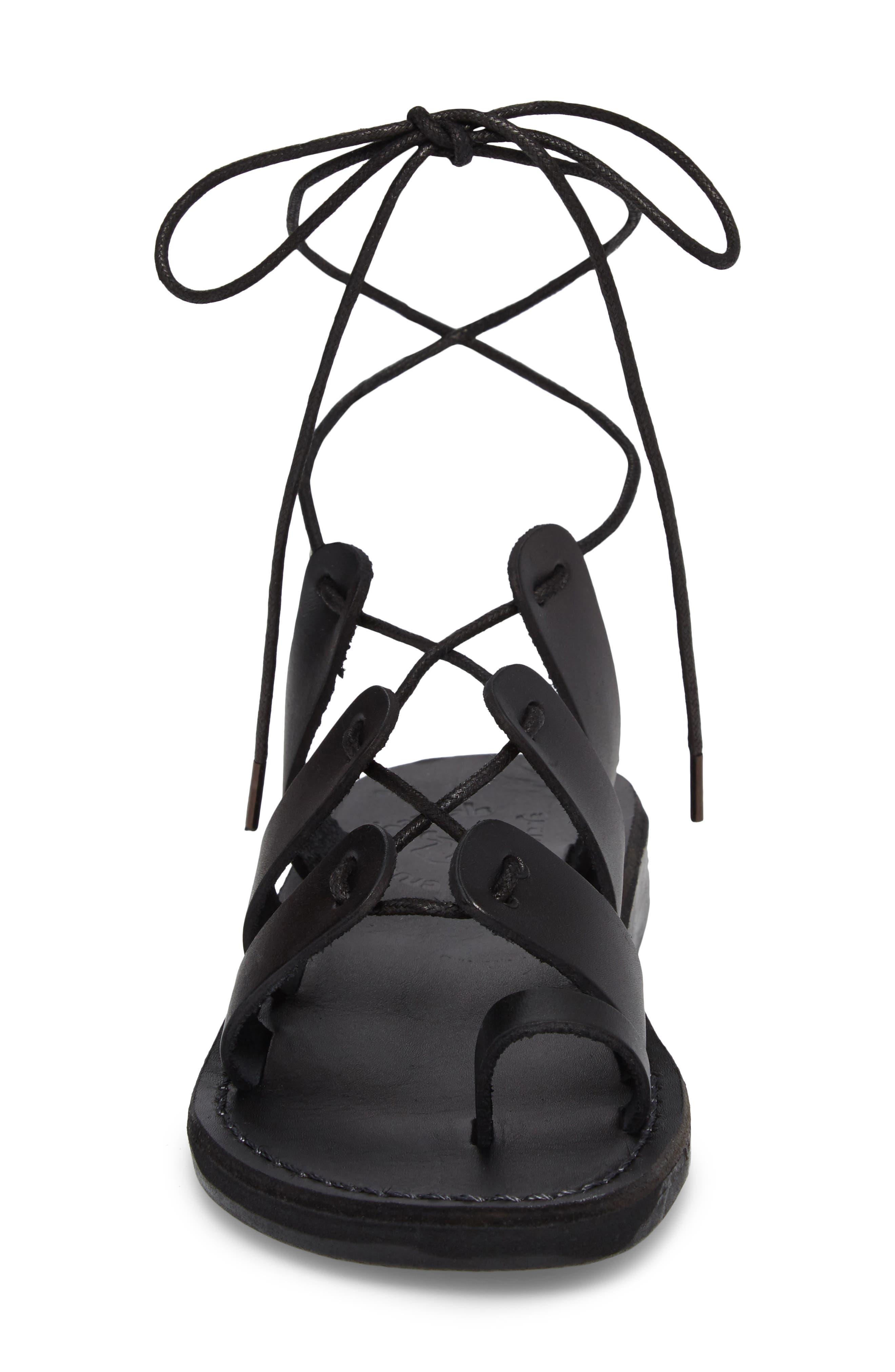 Deborah Wraparound Laces Sandal,                             Alternate thumbnail 4, color,                             BLACK LEATHER