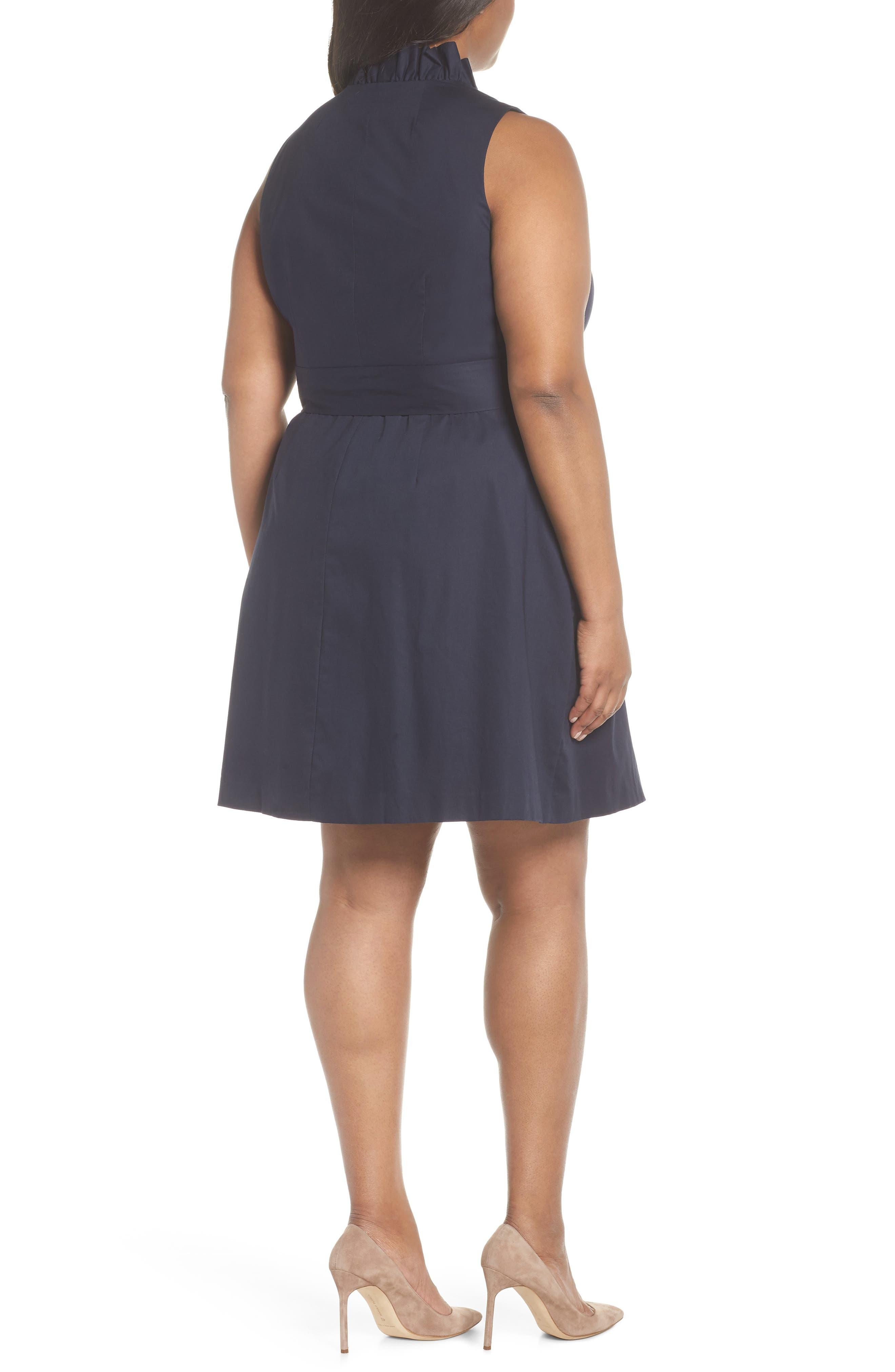 Ruffle Trim Poplin Wrap Dress,                             Alternate thumbnail 2, color,                             NAVY