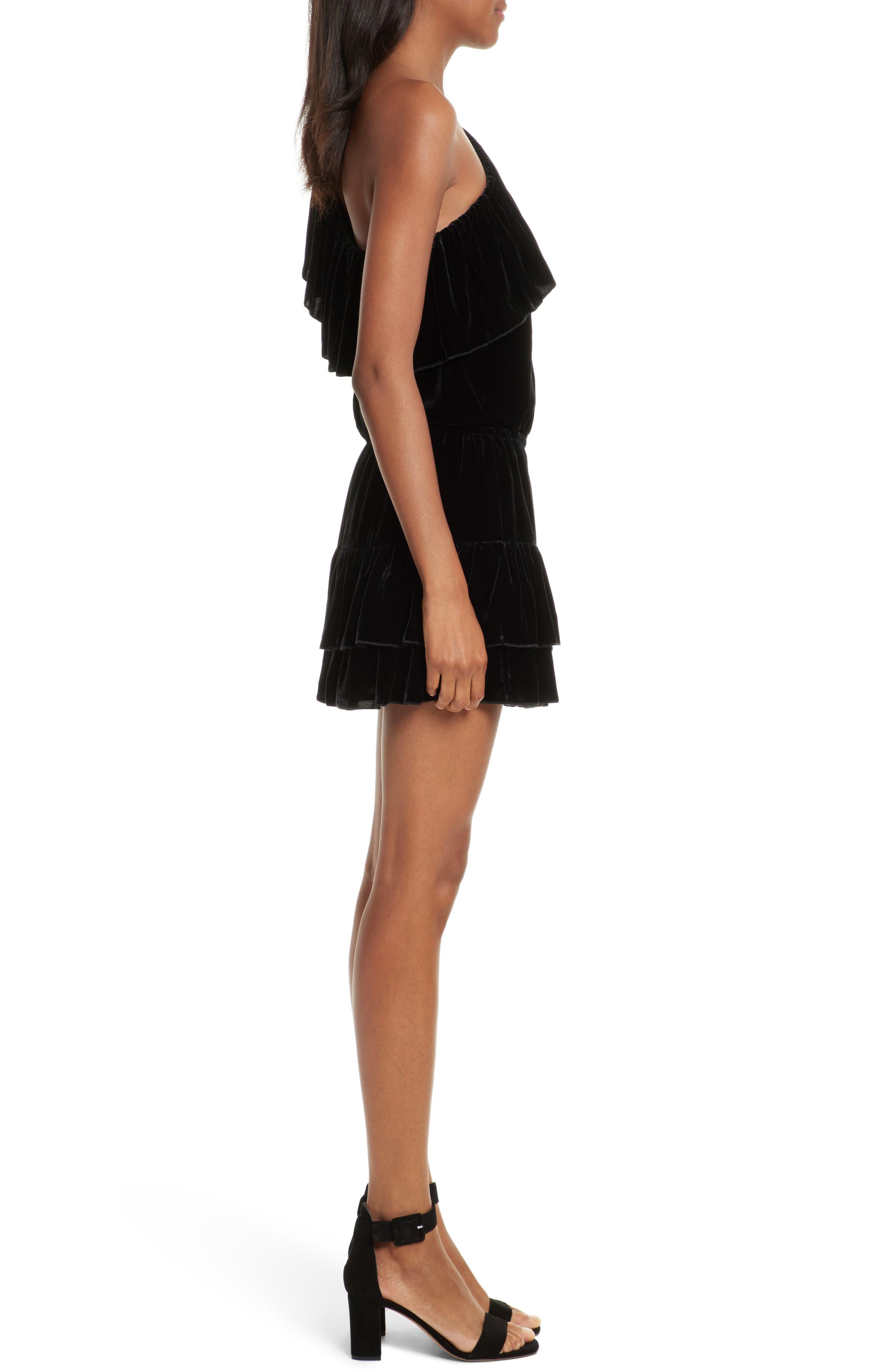 Kolda B One-Shoulder Velvet Dress,                             Alternate thumbnail 3, color,                             002