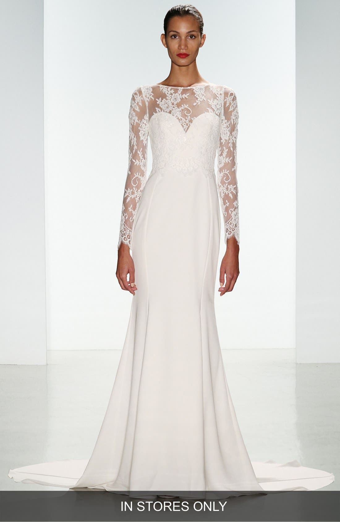 Noelle Long Sleeve Lace & Crepe Gown,                             Main thumbnail 1, color,                             IVORY