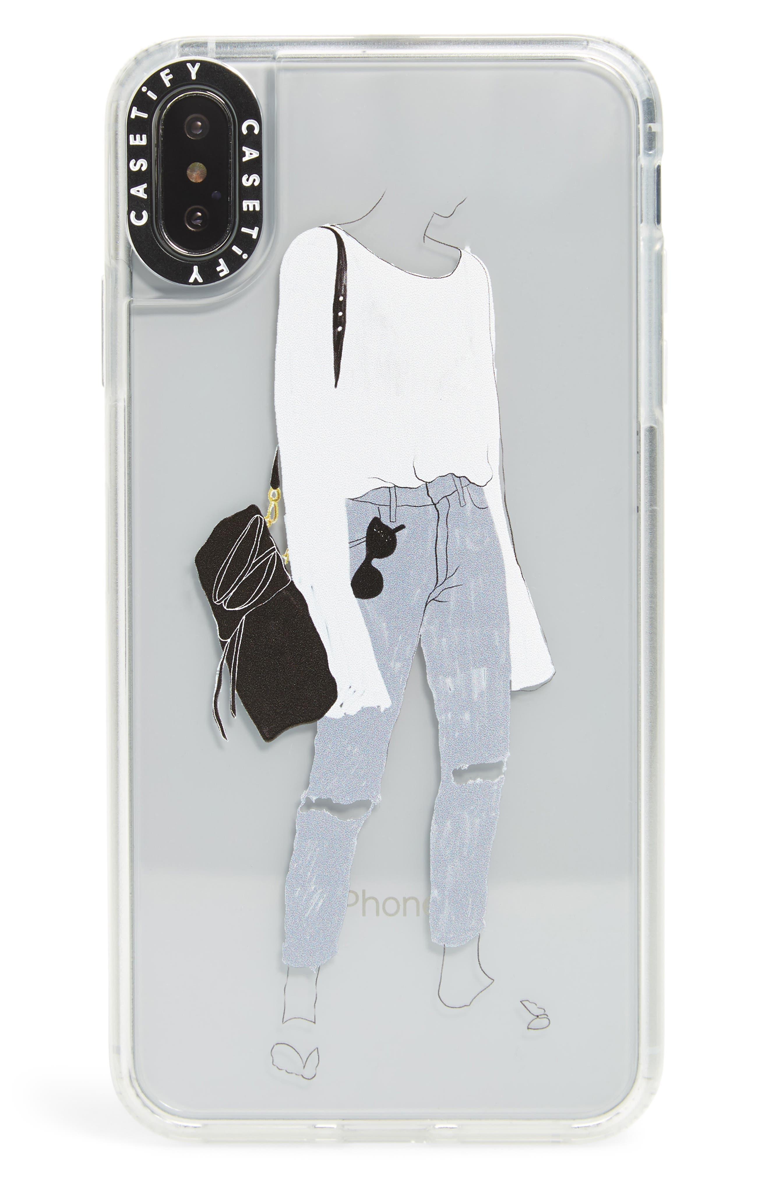 CASETIFY,                             Walk Hard iPhone X/Xs/Xs Max & XR Case,                             Main thumbnail 1, color,                             BLUE/ BLACK/ WHITE