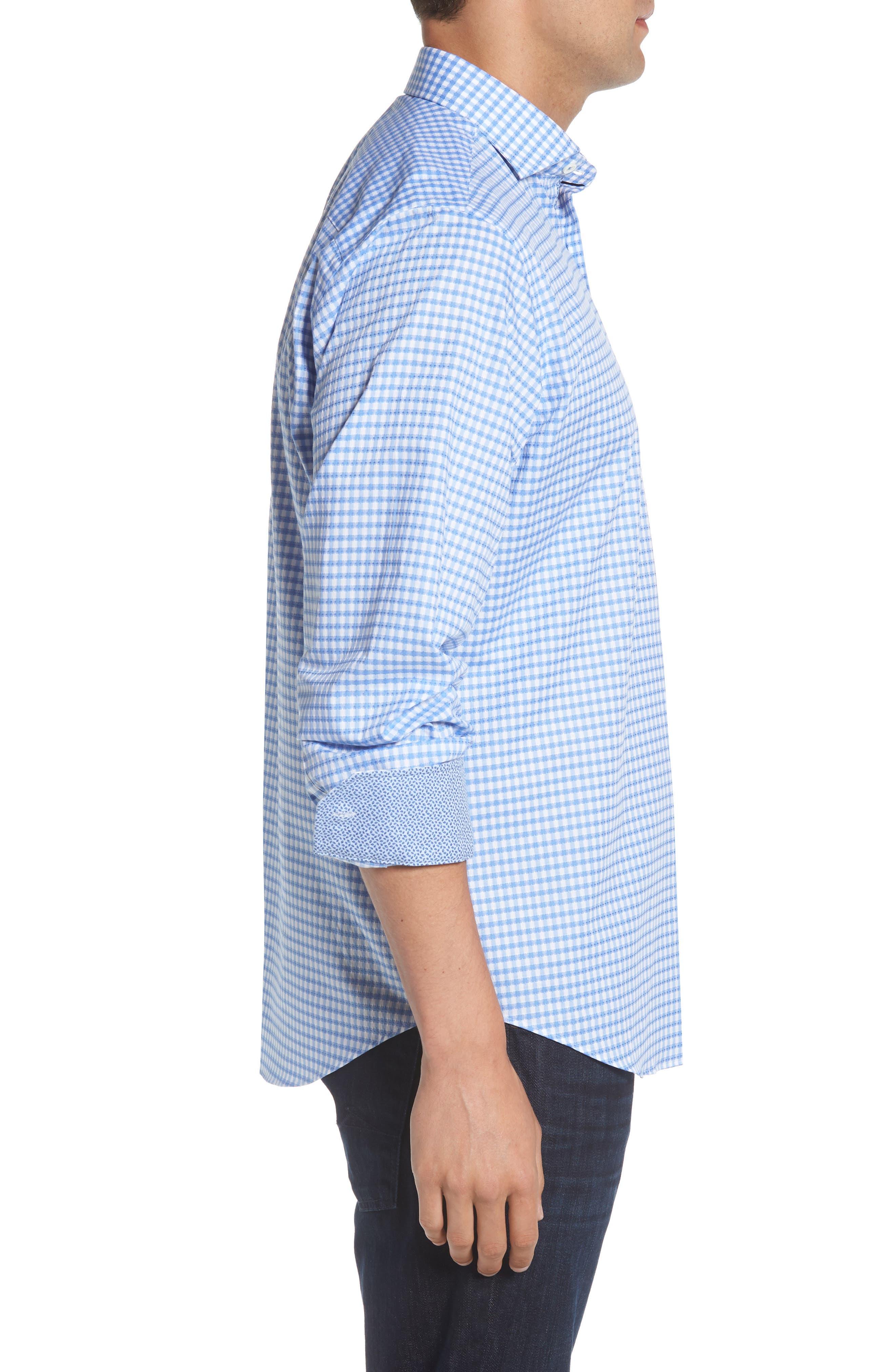 Classic Fit Mini Check Sport Shirt,                             Alternate thumbnail 3, color,                             423