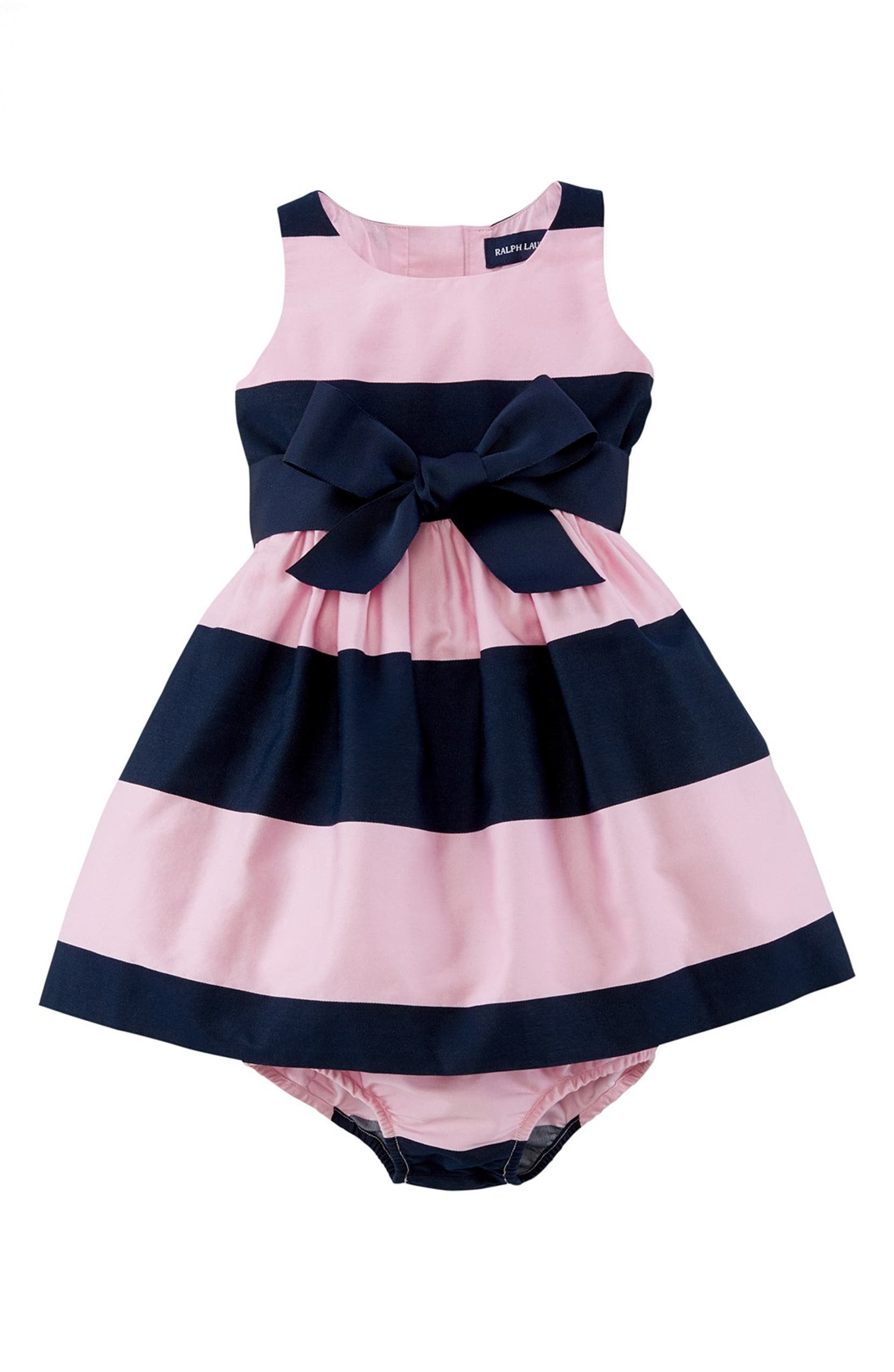 Ralph Lauren Sleeveless Stripe Sateen Dress (Baby Girls)   Nordstrom 8c534169424