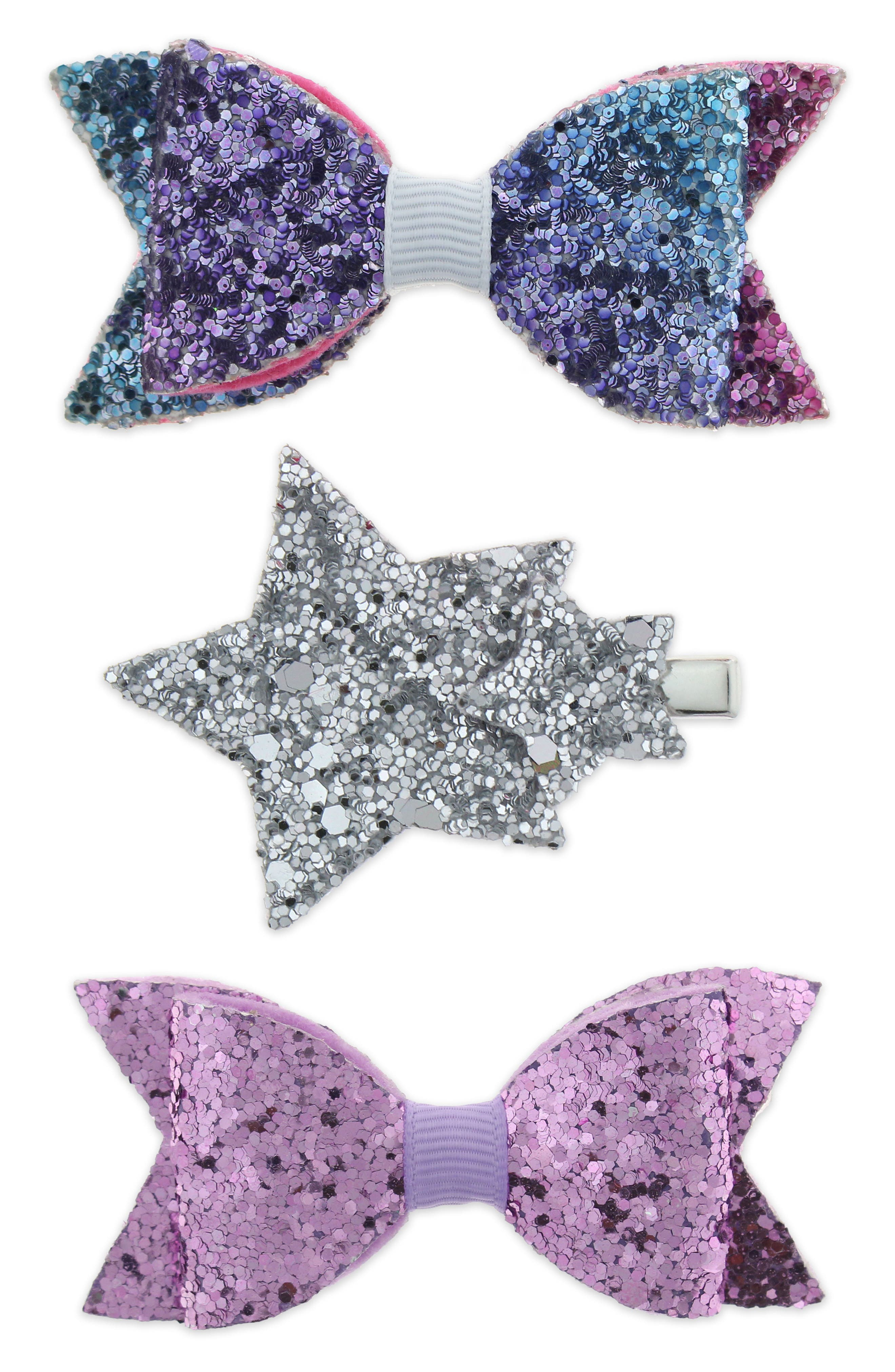 Glitter Bow Star 3-Piece Hair Clip Set,                         Main,                         color, MULTI RAINBOW COMBO