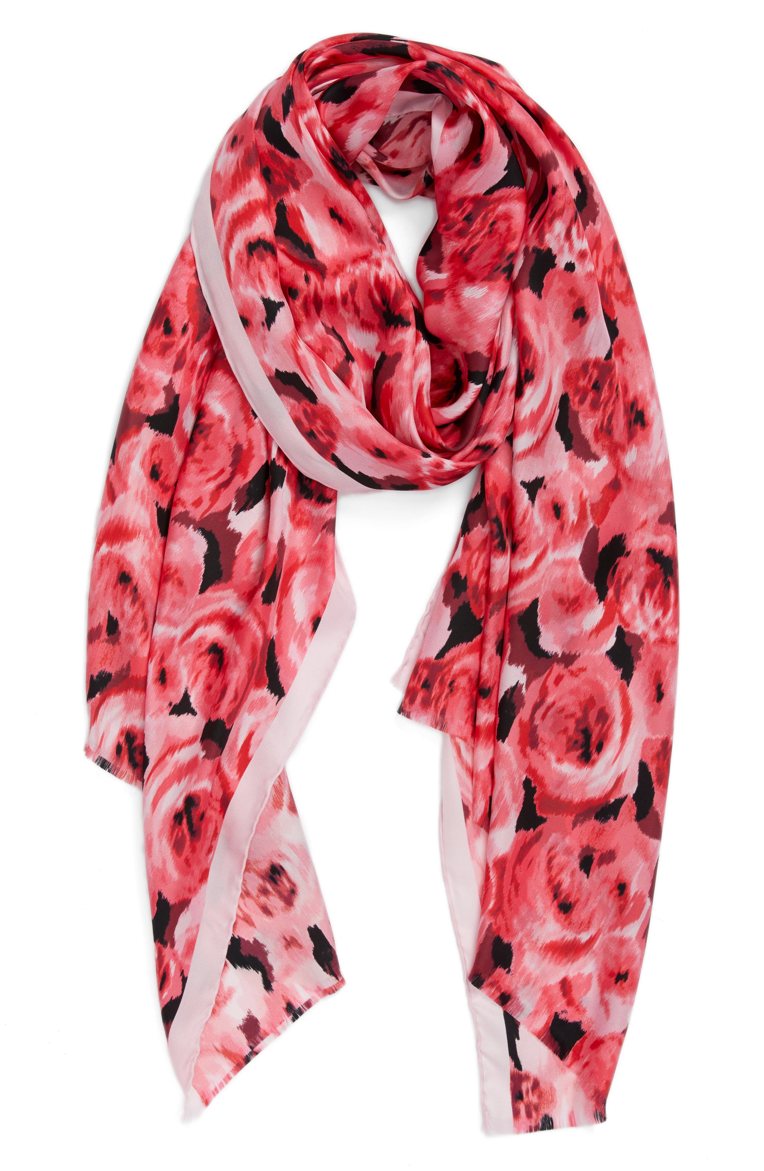 tapestry rose silk oblong scarf,                             Alternate thumbnail 2, color,