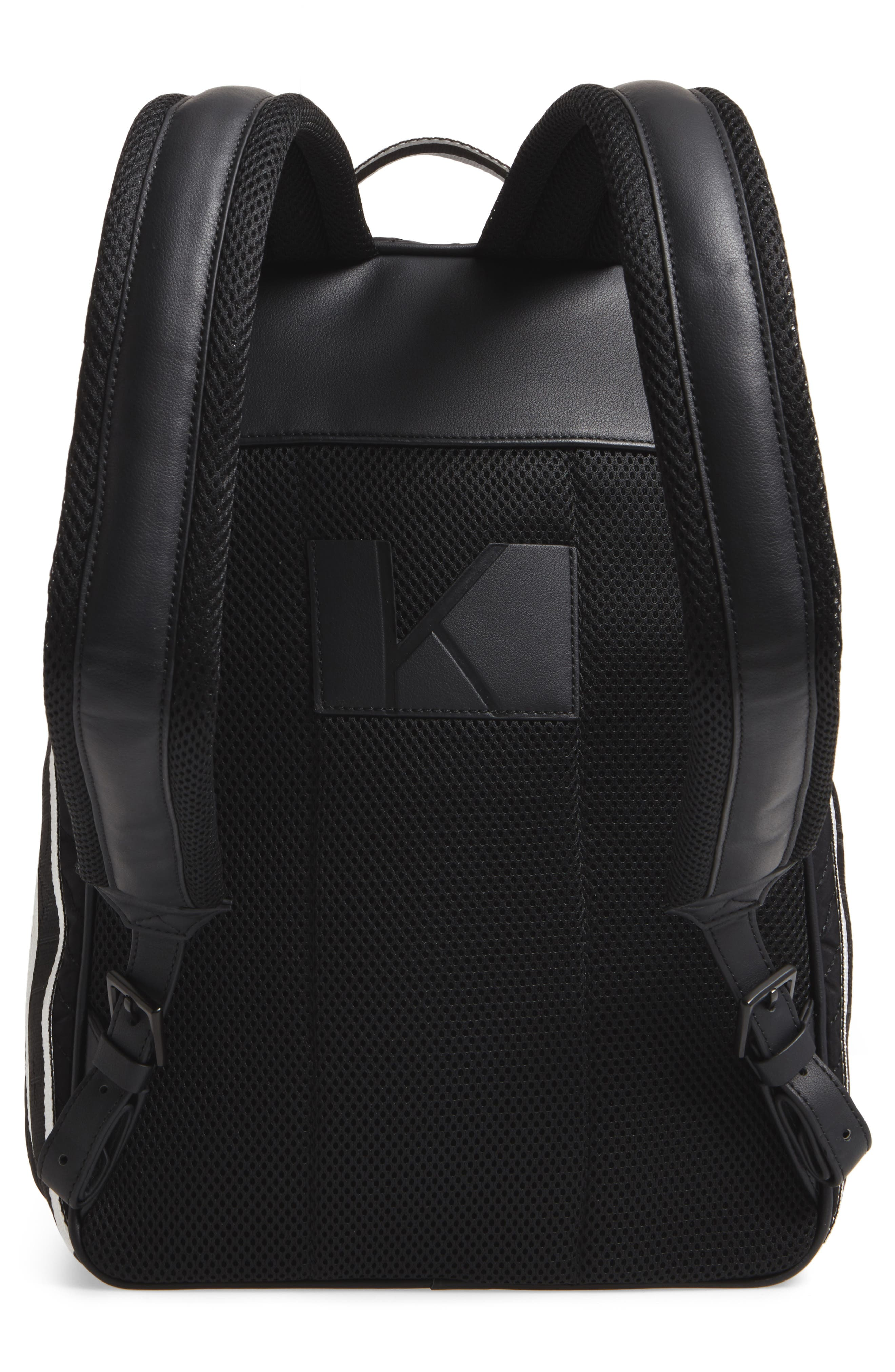 Jo Quilted Nylon Backpack,                             Alternate thumbnail 3, color,                             001