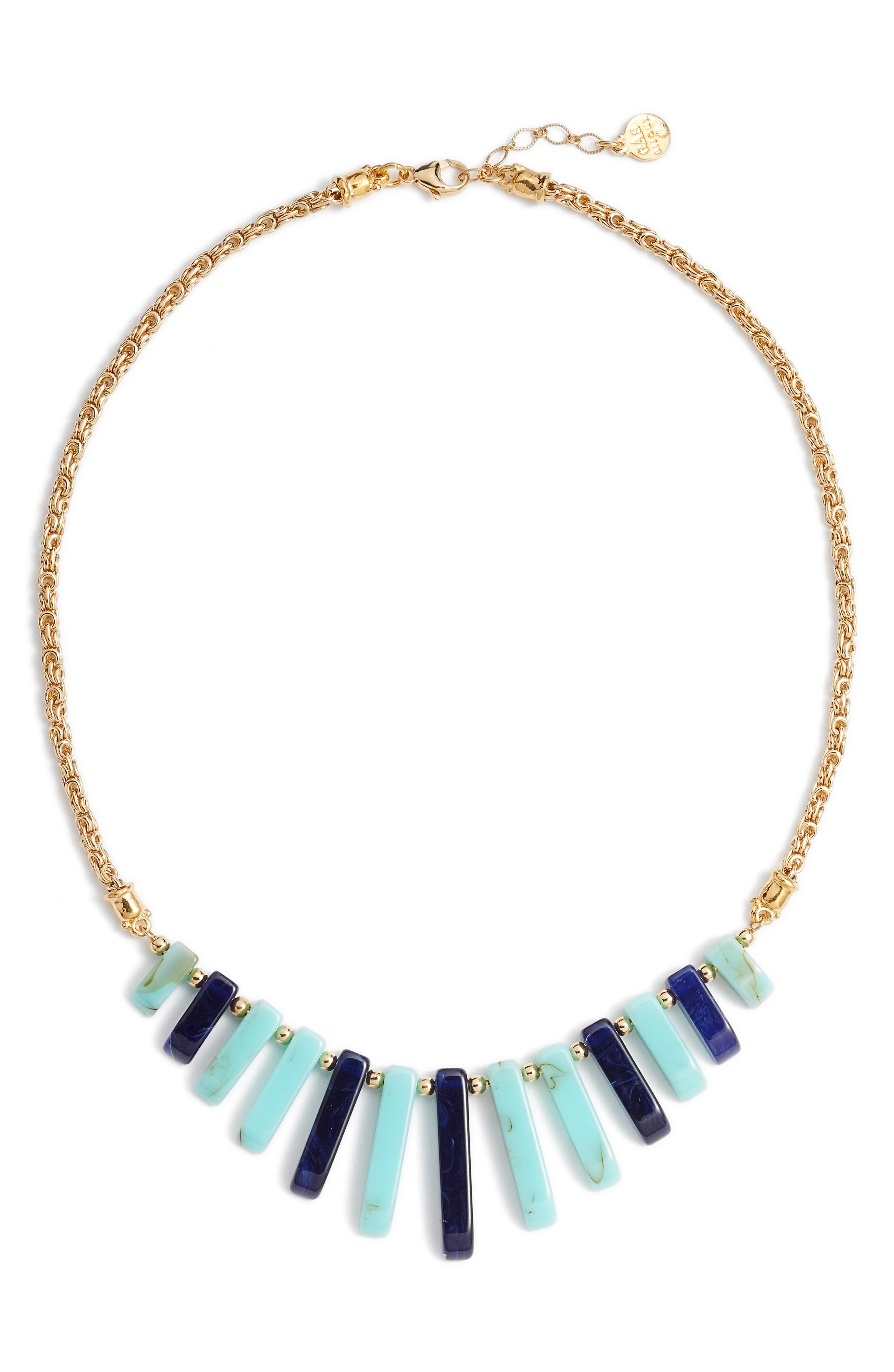 Cascade Bib Necklace,                         Main,                         color, BLUE
