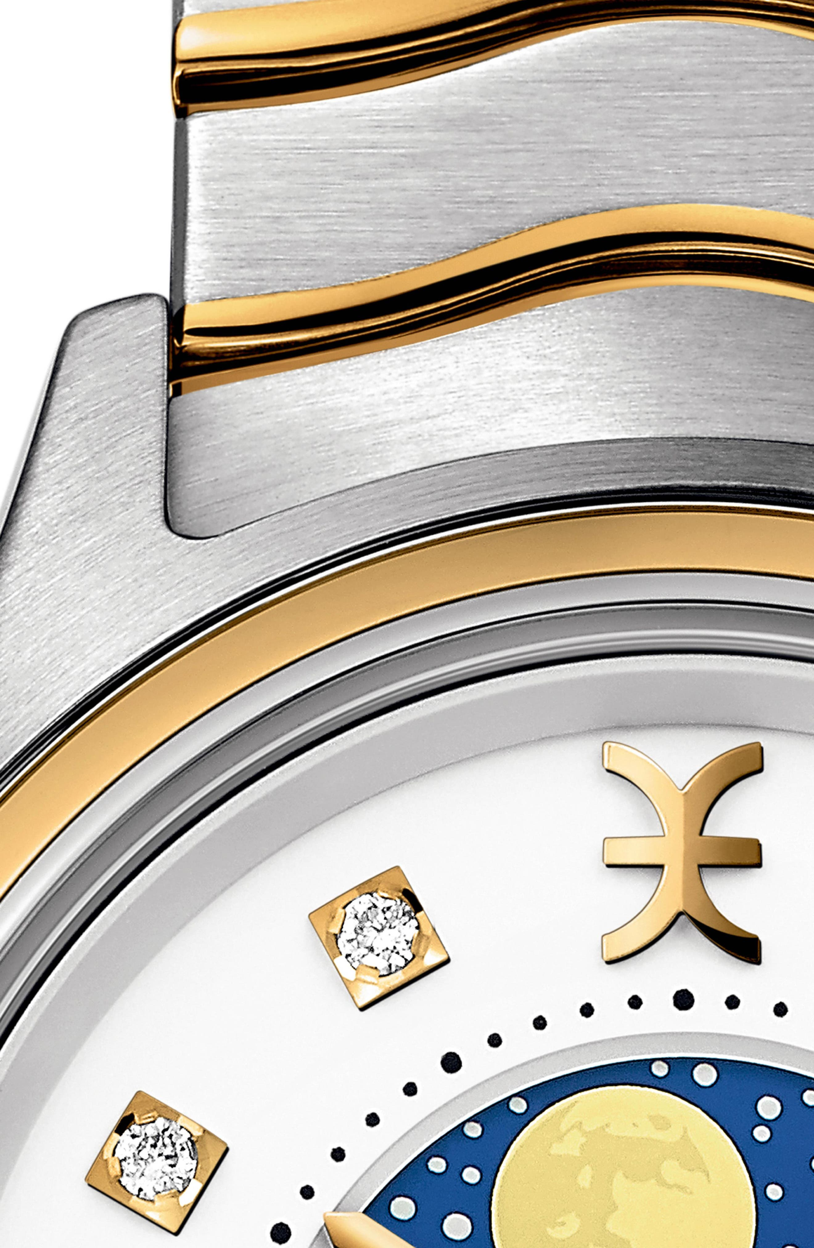 Moonphase Wave Bracelet Watch, 30mm,                             Alternate thumbnail 2, color,                             SILVER/ WHITE/ GOLD