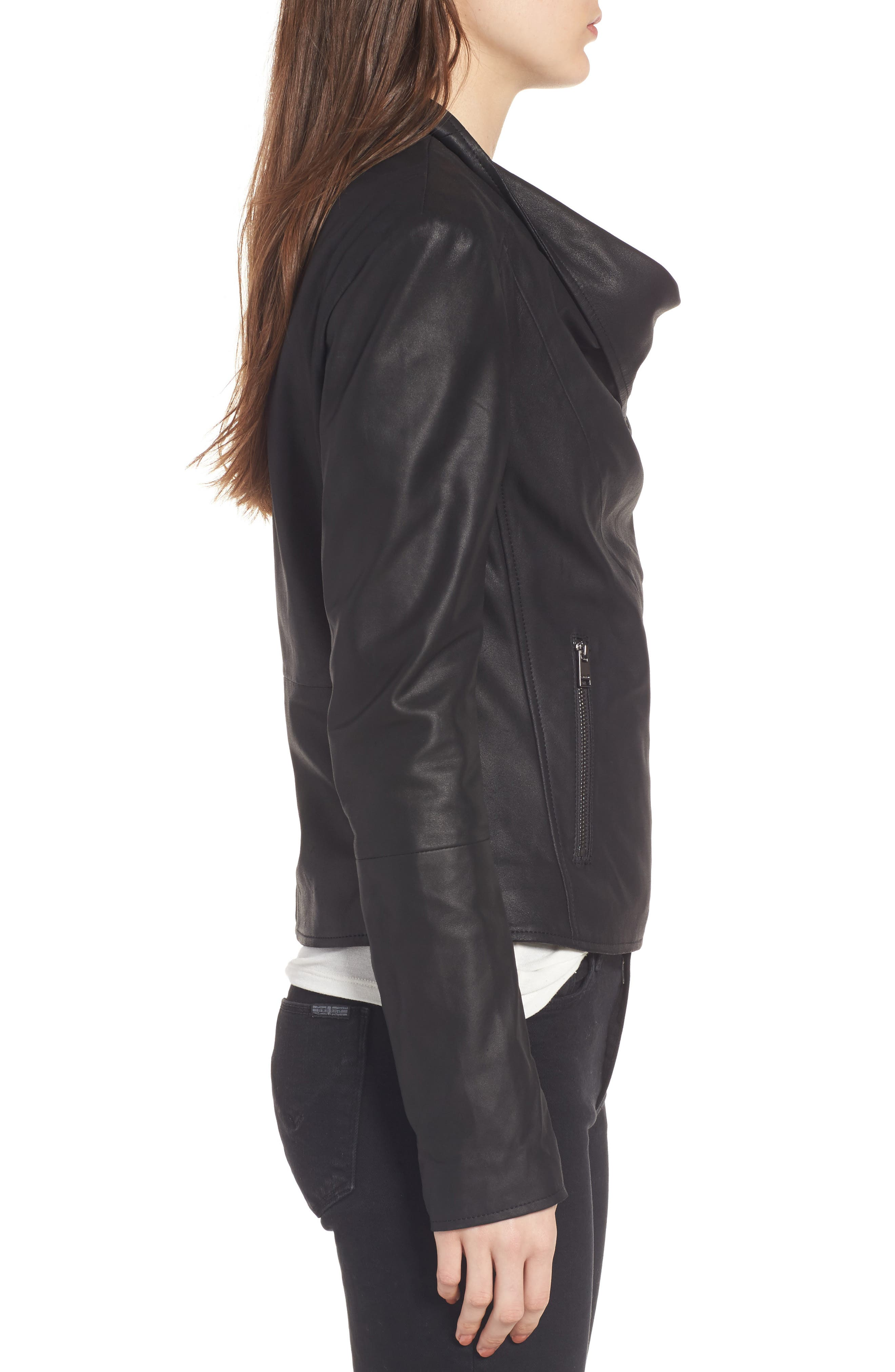 Cascade Leather Jacket,                             Alternate thumbnail 3, color,                             001