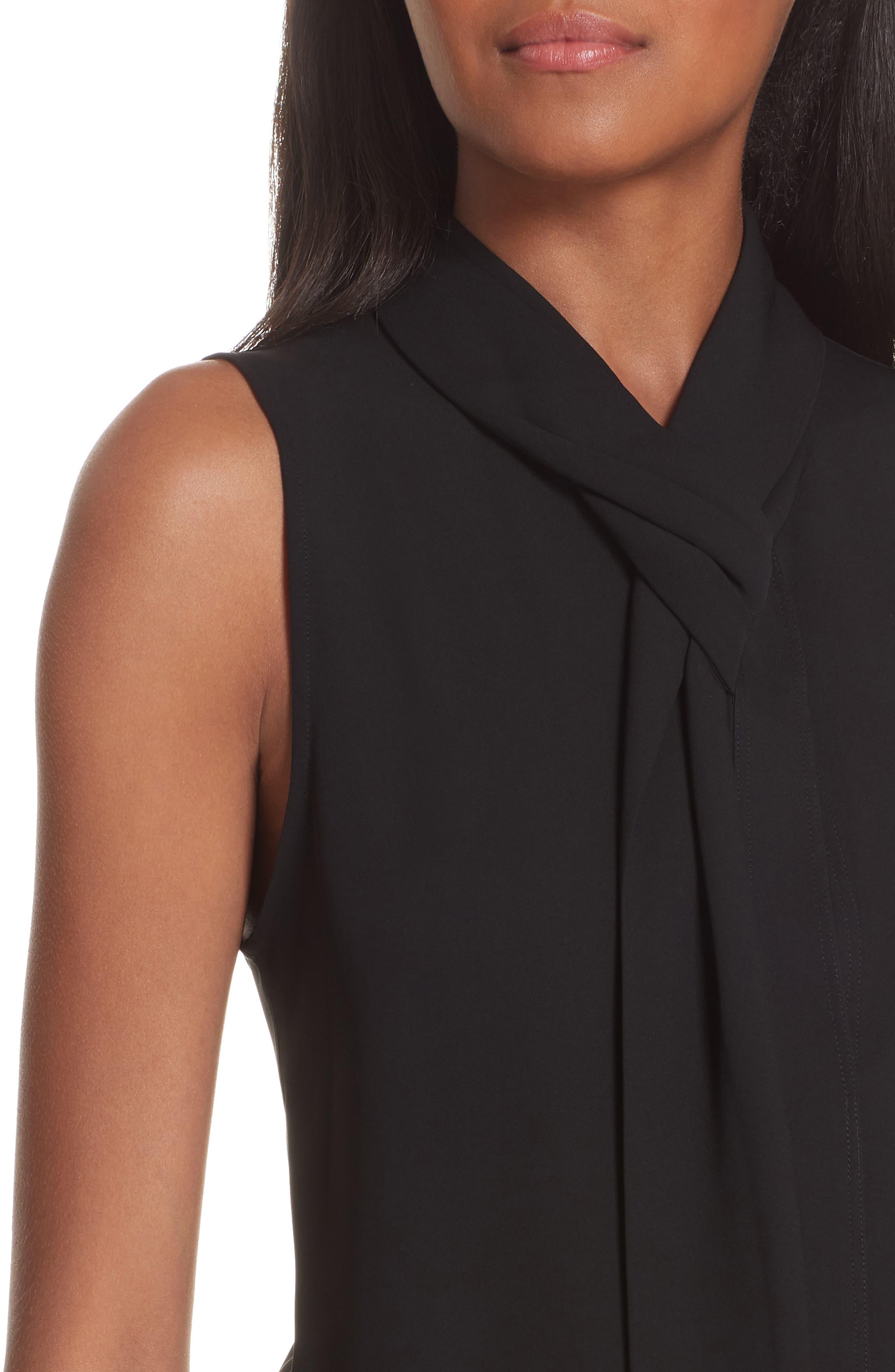 Draped Tie Neck Silk Georgette Shell,                             Alternate thumbnail 4, color,                             001