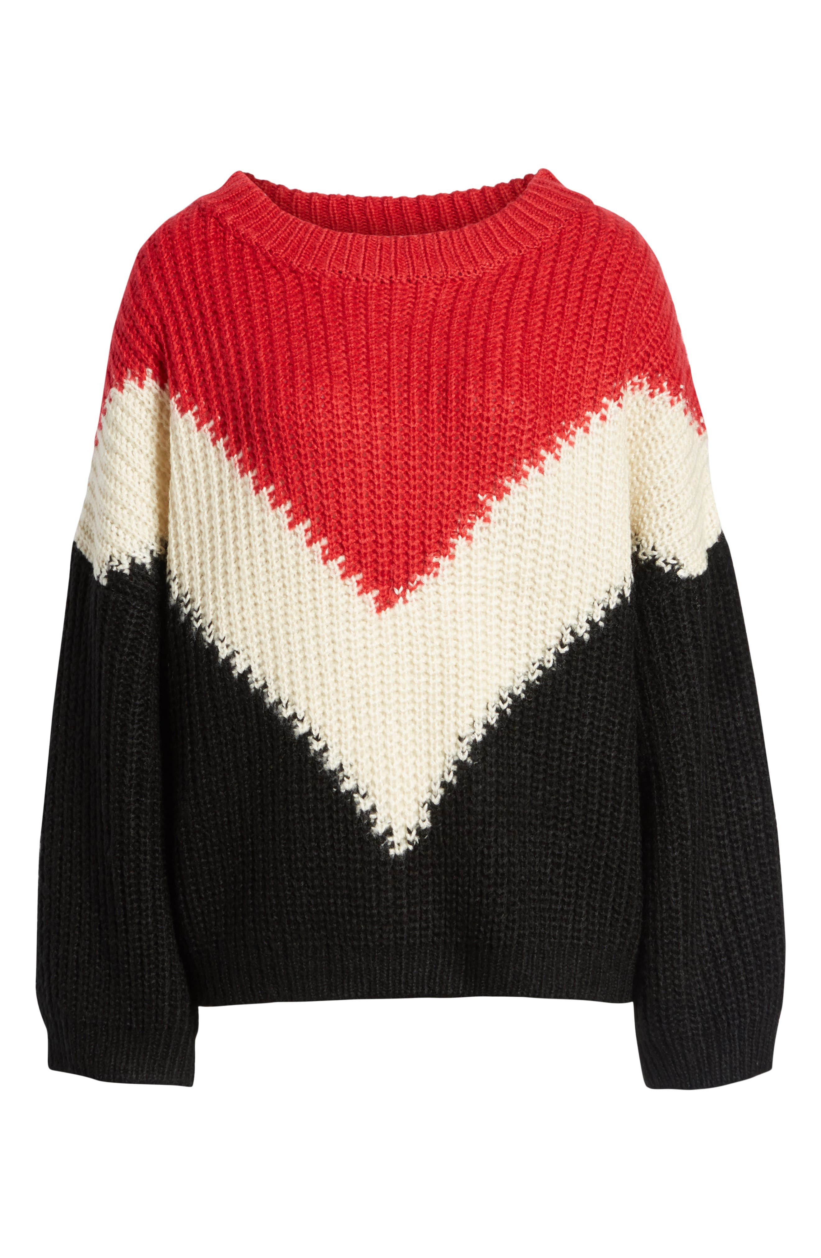 BISHOP + YOUNG,                             The Anthem Colorblock Shaker Sweater,                             Alternate thumbnail 6, color,                             BLACK