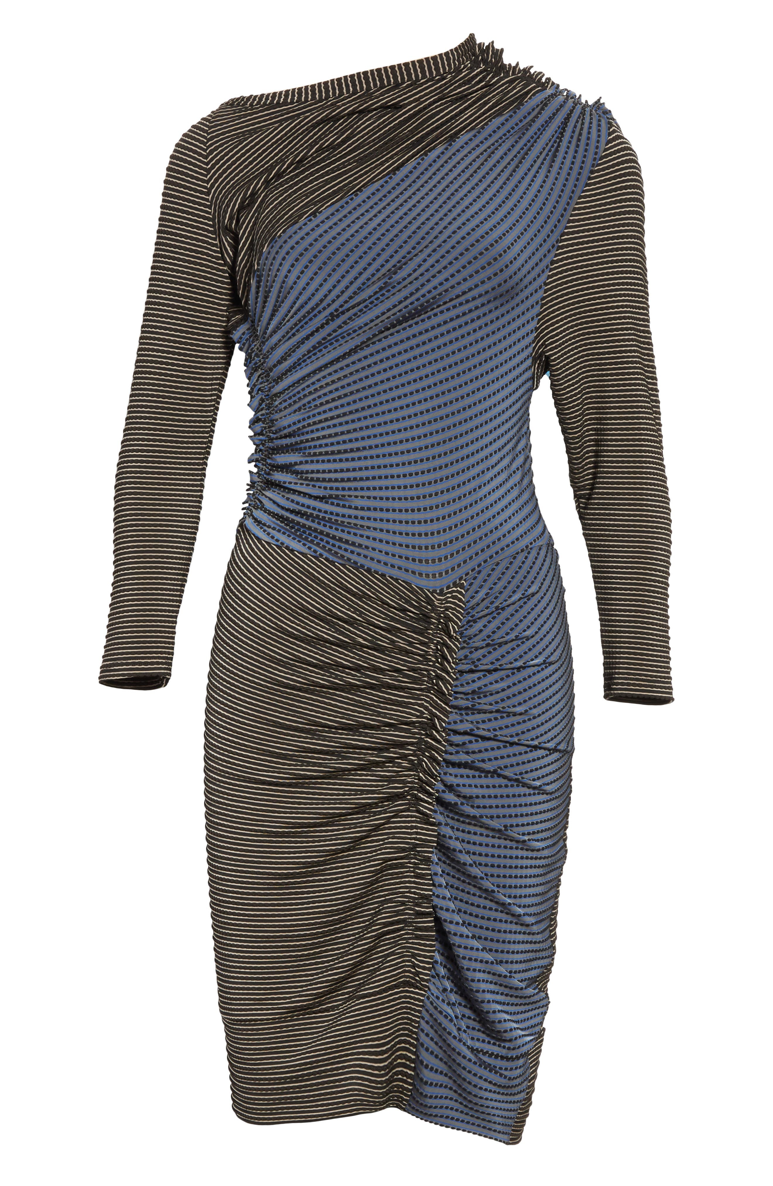 Gathered Jersey Jacquard Dress,                             Alternate thumbnail 6, color,                             400