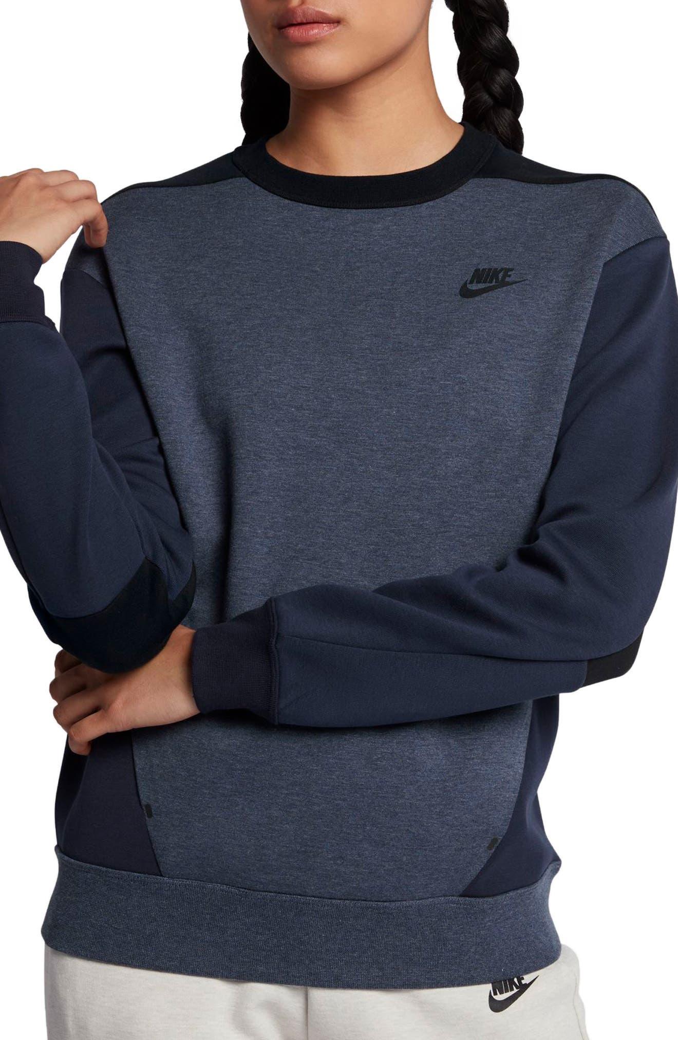 Sportswear Women's Tech Fleece Crew,                             Main thumbnail 1, color,                             OBSIDIAN/ BLACK/ BLACK