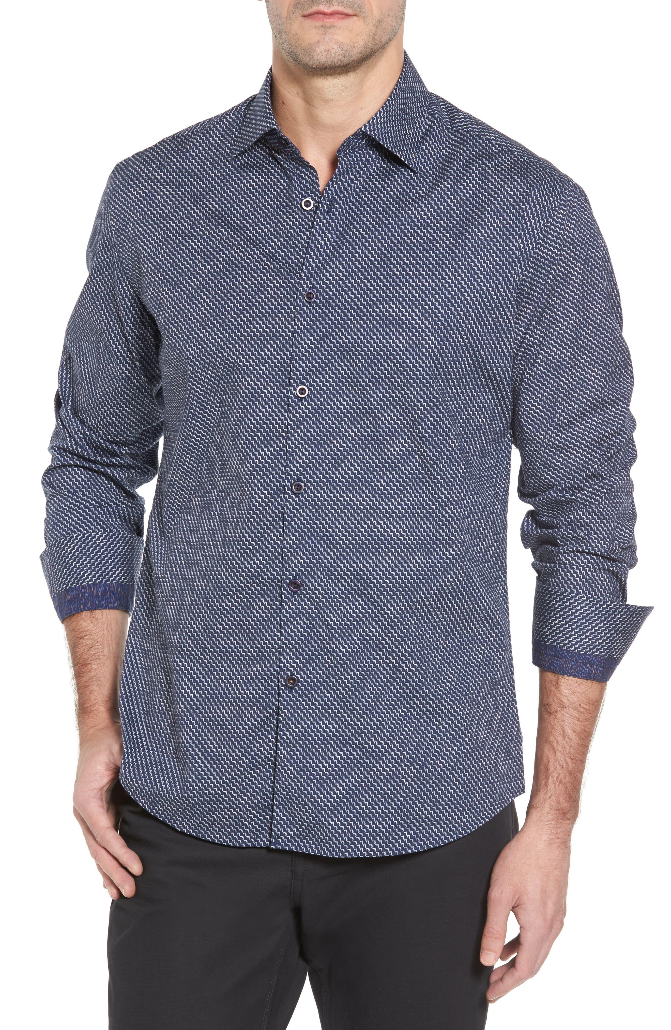 Slim Fit Wolf Texture FX Sport Shirt,                             Main thumbnail 1, color,