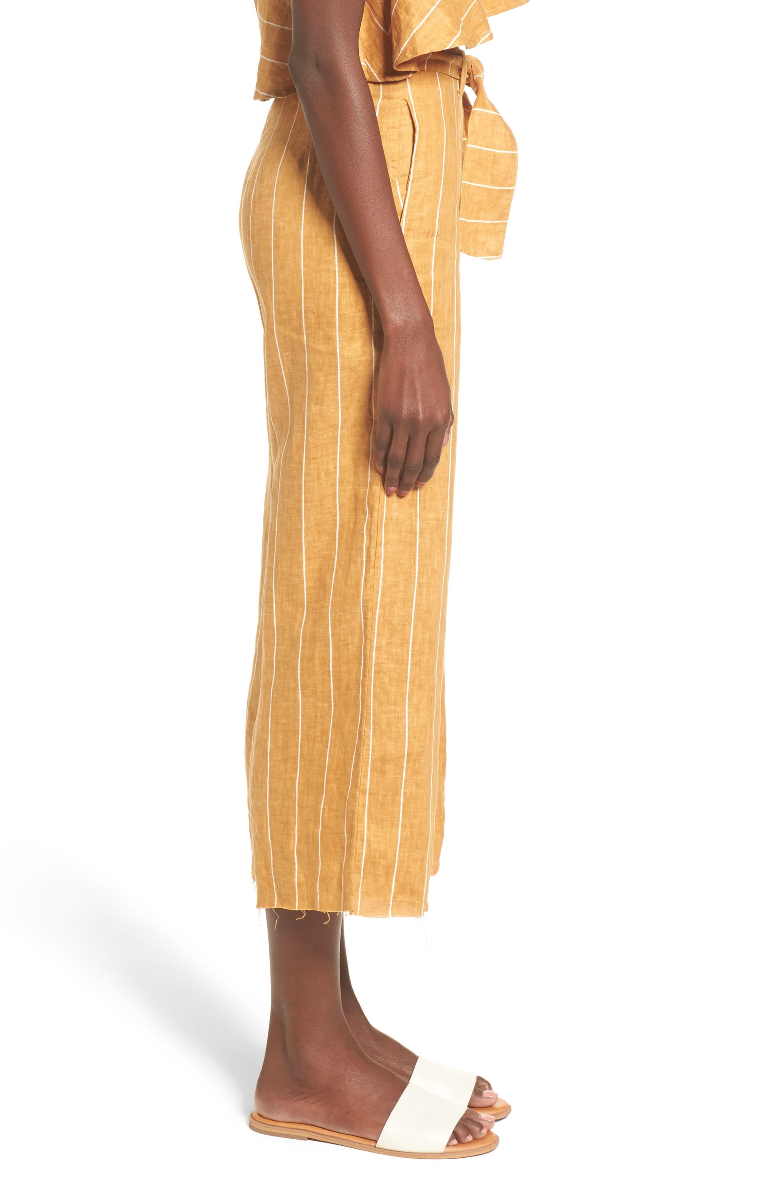 Como Wide Leg Crop Linen Pants,                             Alternate thumbnail 3, color,                             COPENHAGEN STRIPE