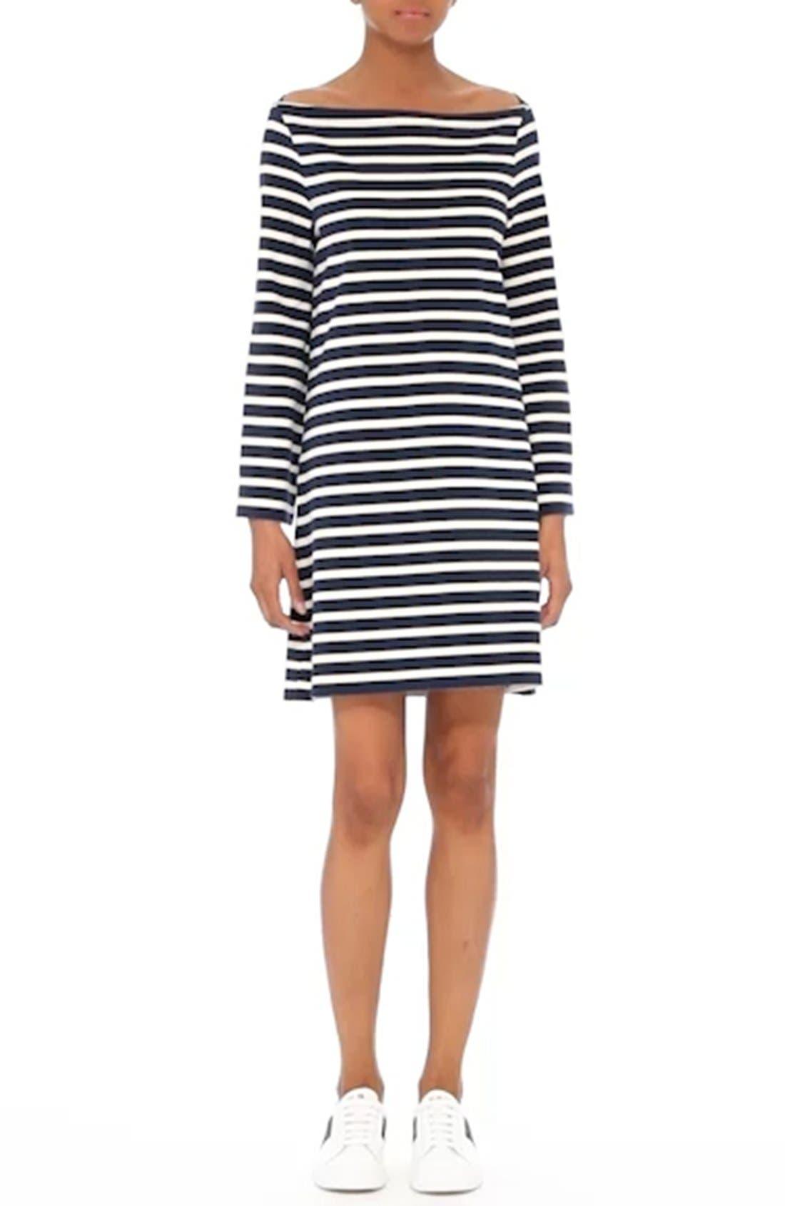 Reverse Breton Stripe Dress,                             Alternate thumbnail 7, color,                             437