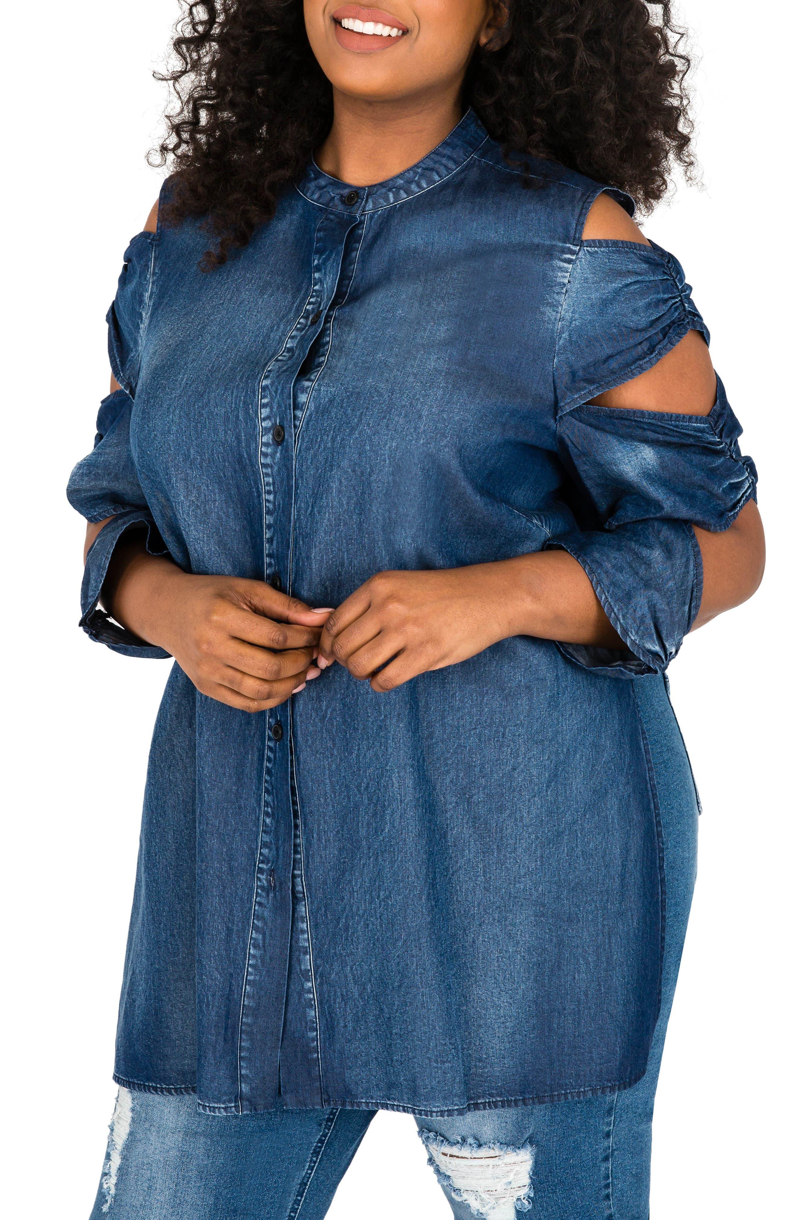 Queenie Split Sleeve Top,                             Main thumbnail 1, color,                             MEDIUM BLUE