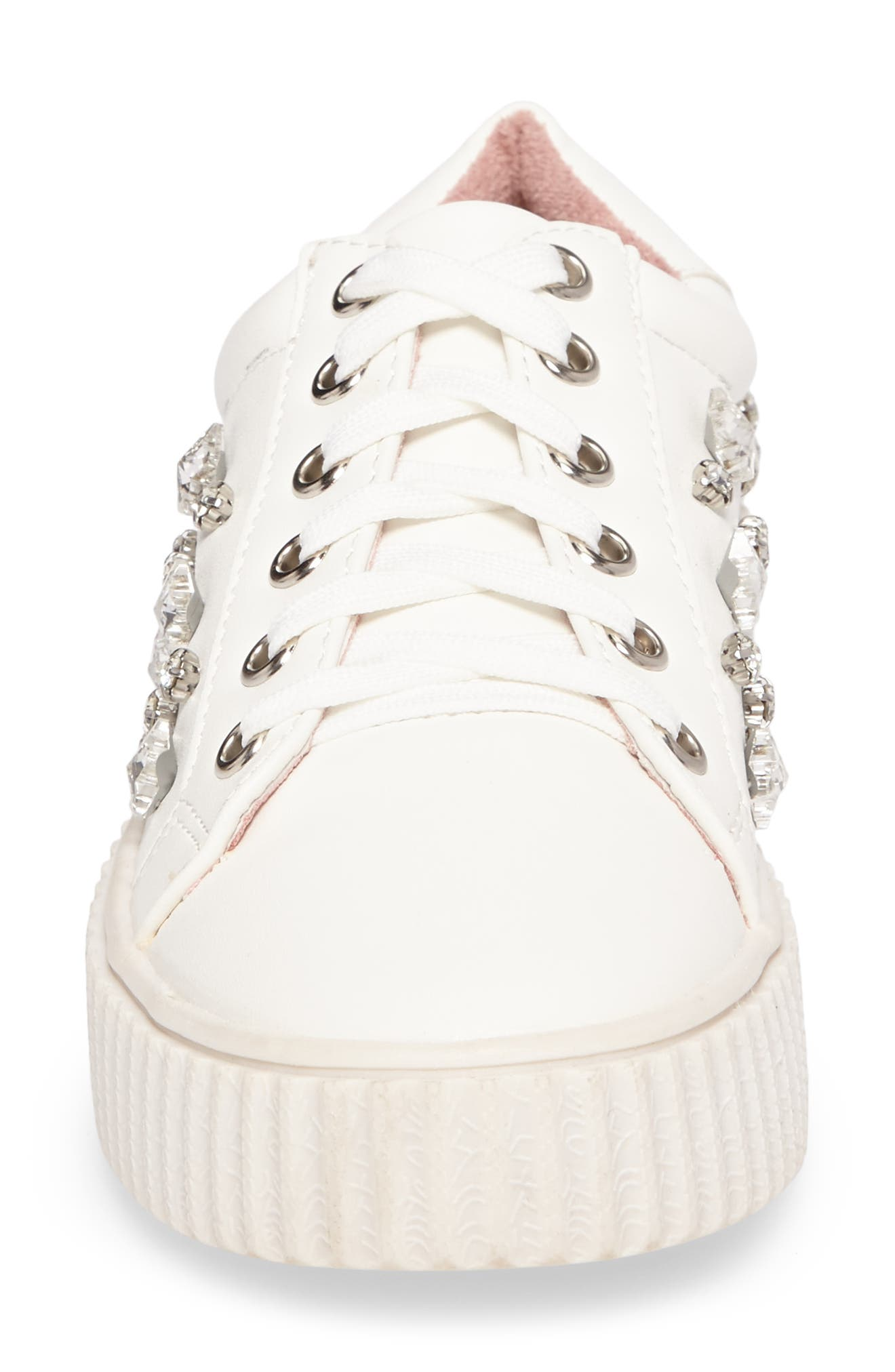 Pam Embellished Platform Sneaker,                             Alternate thumbnail 4, color,                             WHITE