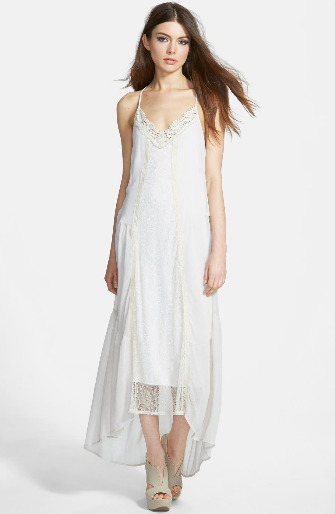 ASTR Tiered Maxi Dress with Crochet Trim,                             Main thumbnail 1, color,                             903