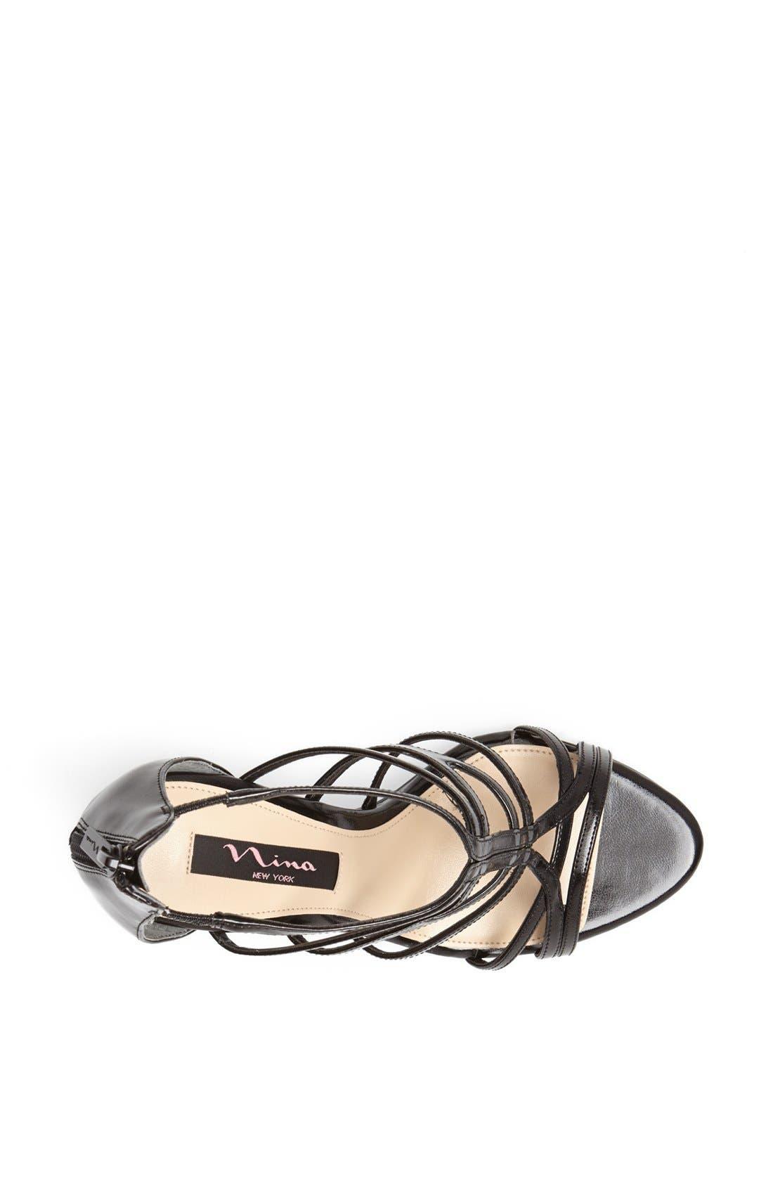NINA,                             'Marisol' Glittering Cage Strap Sandal,                             Alternate thumbnail 4, color,                             006