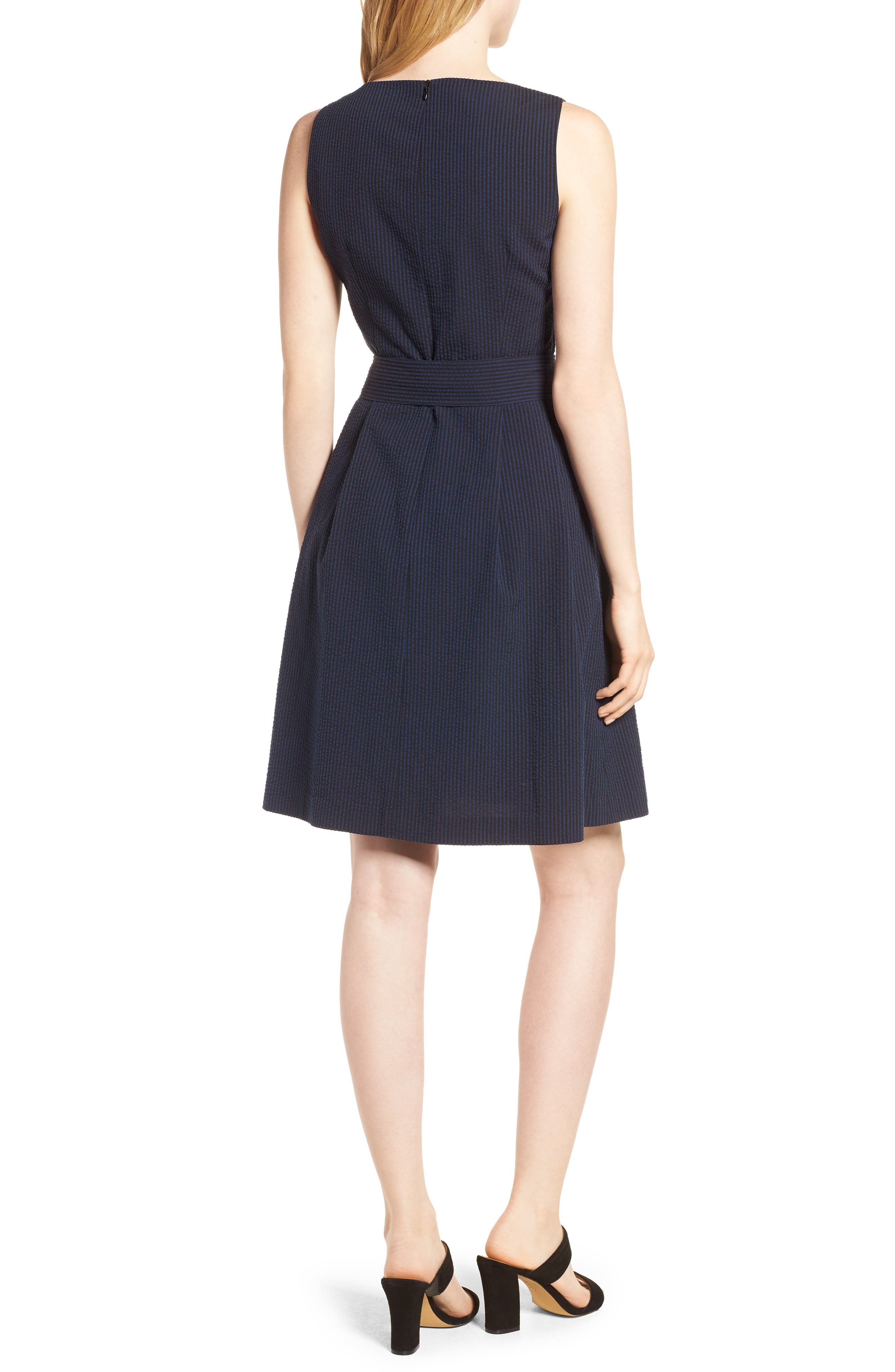 Seersucker Fit & Flare Dress,                             Alternate thumbnail 2, color,                             400