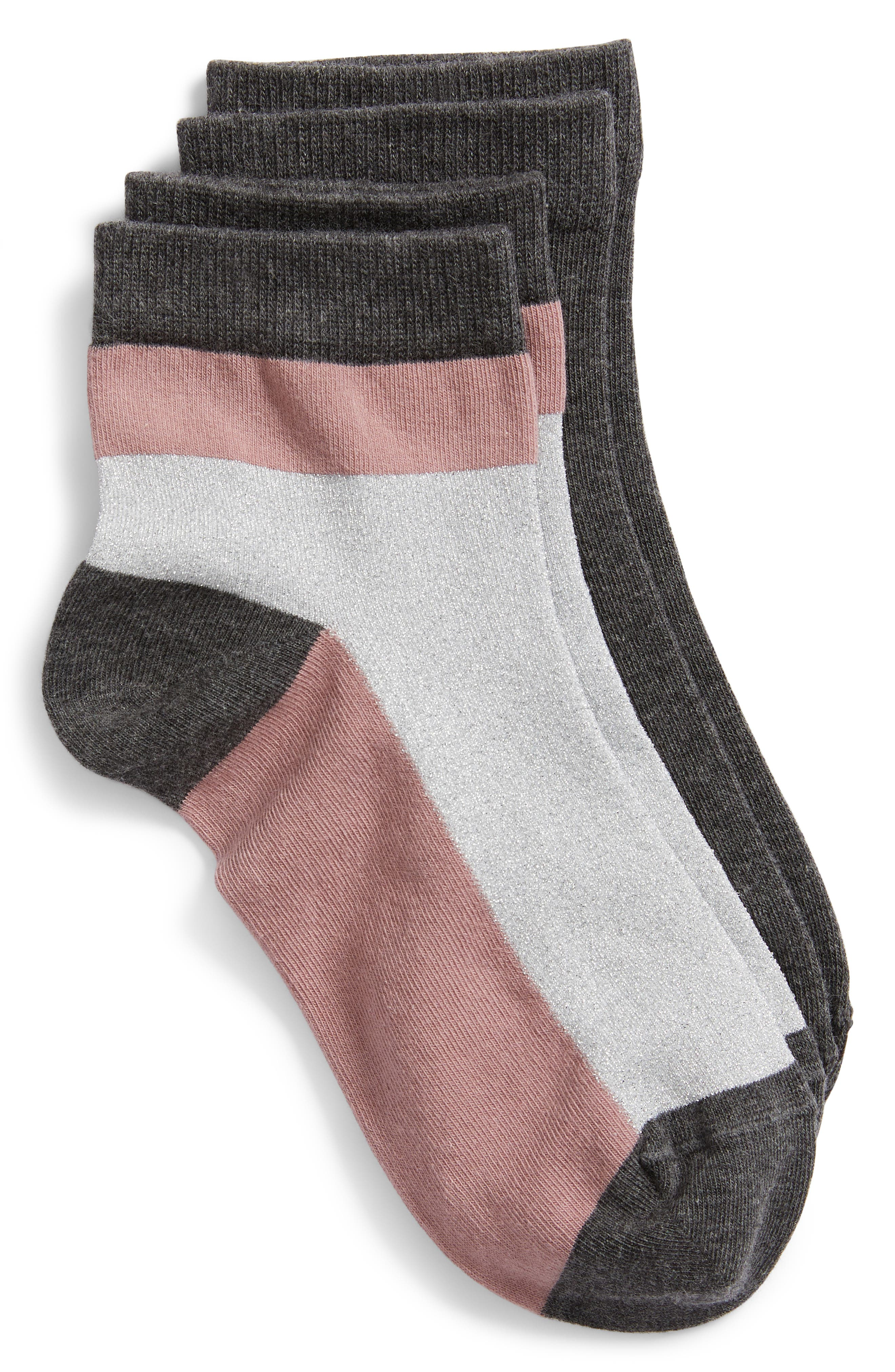 2-Pack Ankle Socks,                             Main thumbnail 1, color,                             GREY CHARCOAL MULTI