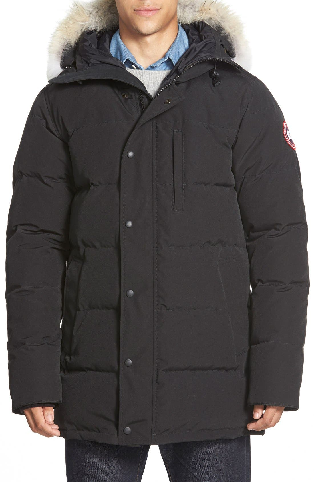 'Carson' Slim Fit Hooded Packable Parka with Genuine Coyote Fur Trim,                             Main thumbnail 1, color,                             GRAPHITE
