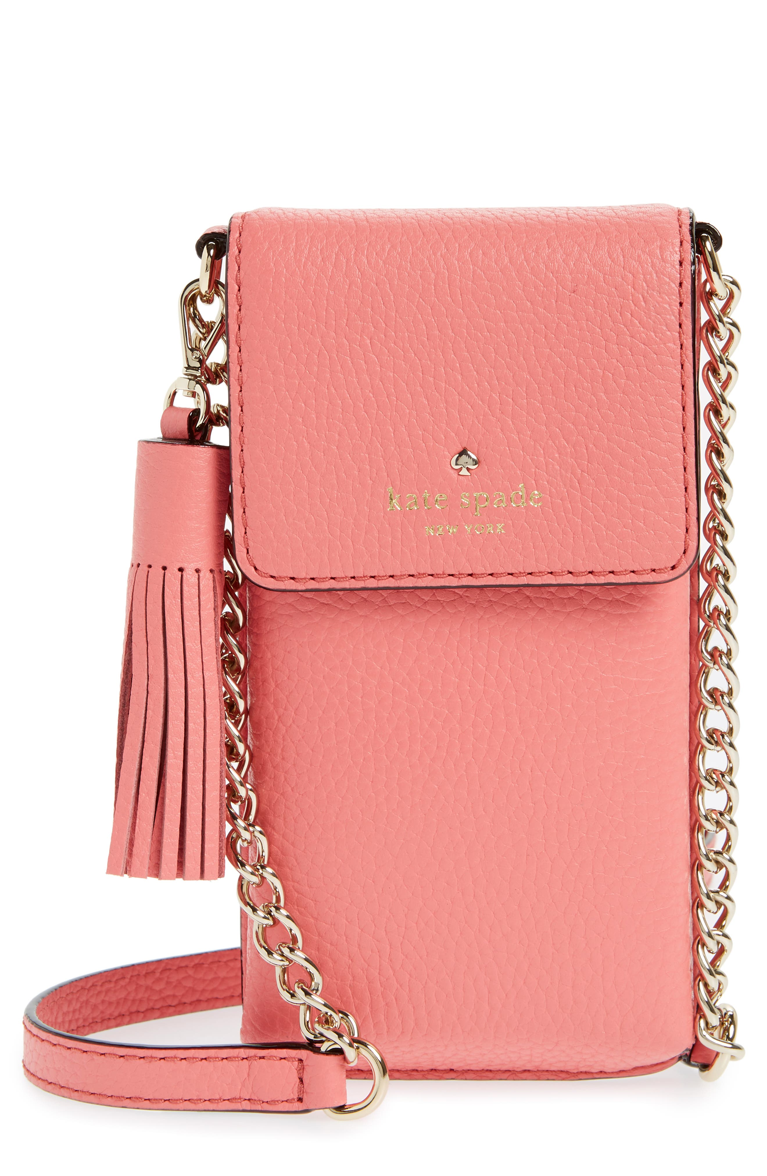 north/south leather smartphone crossbody bag,                         Main,                         color, CORAL PEBBLE