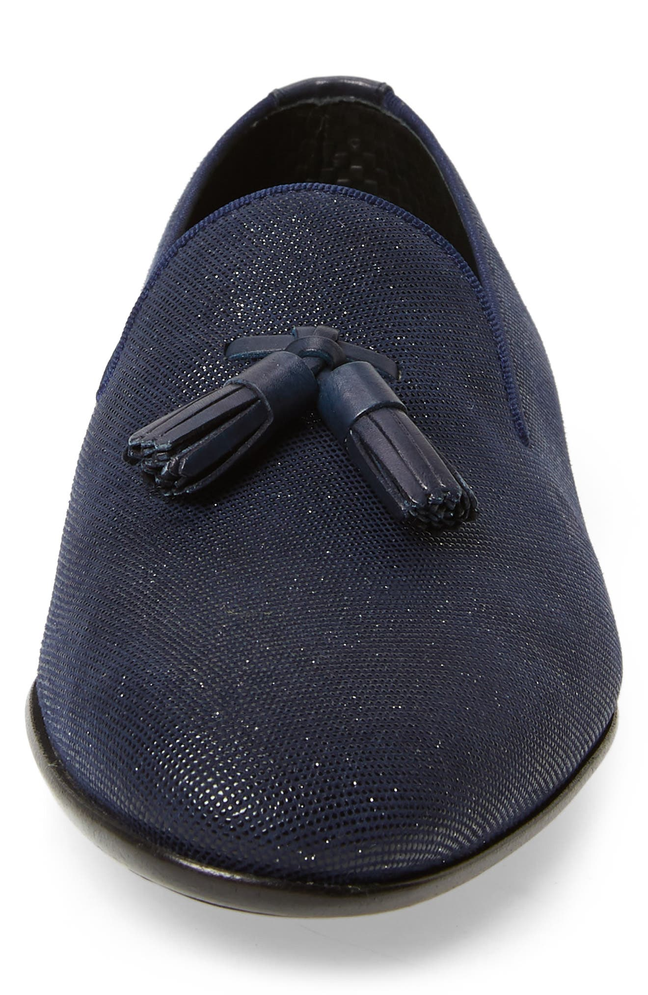 Devin Tassel Loafer,                             Alternate thumbnail 4, color,                             NAVY LEATHER