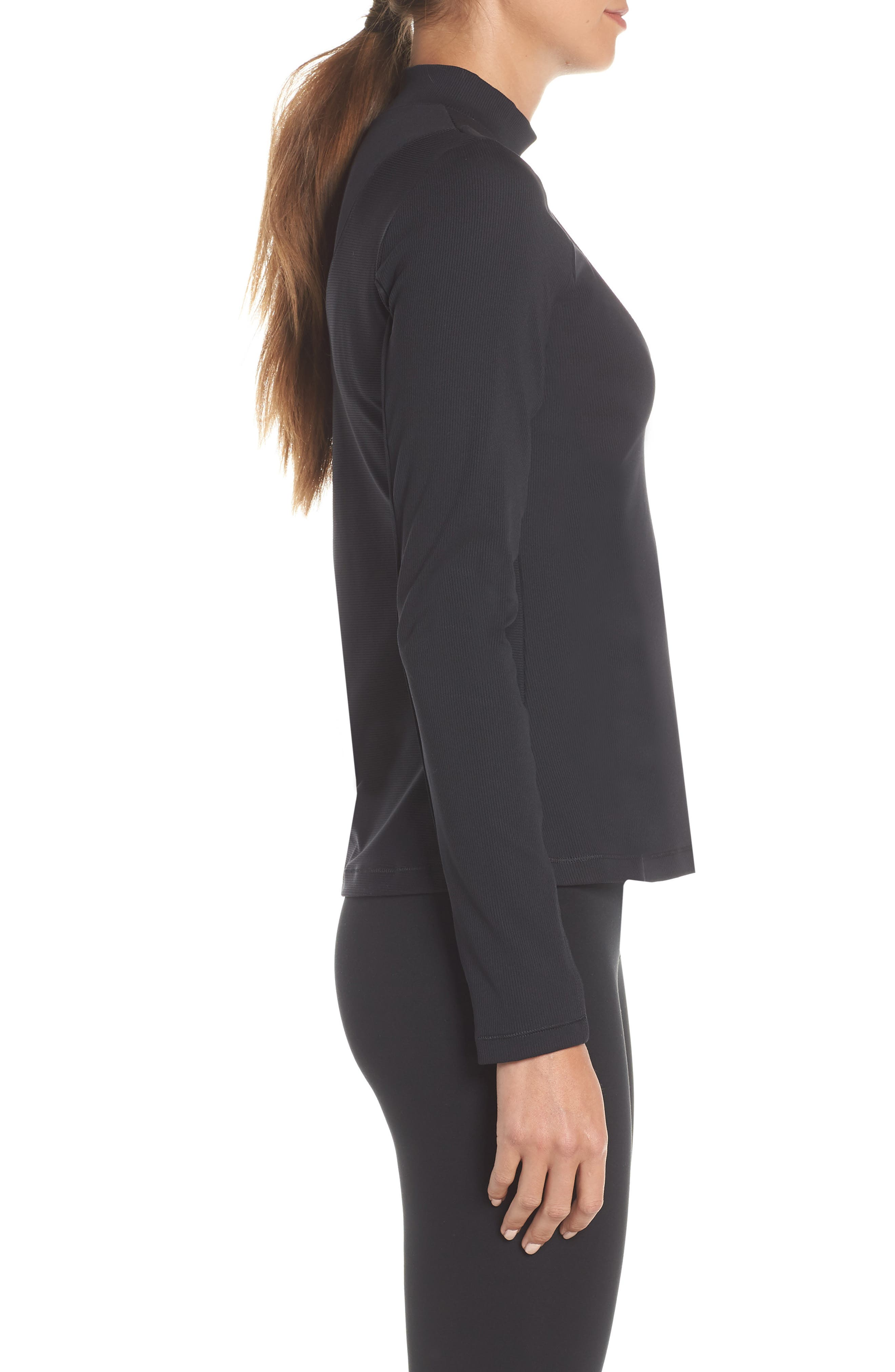 The Nike Pro HyperCool Women's Long Sleeve Ribbed Top,                             Alternate thumbnail 3, color,                             BLACK/ CLEAR