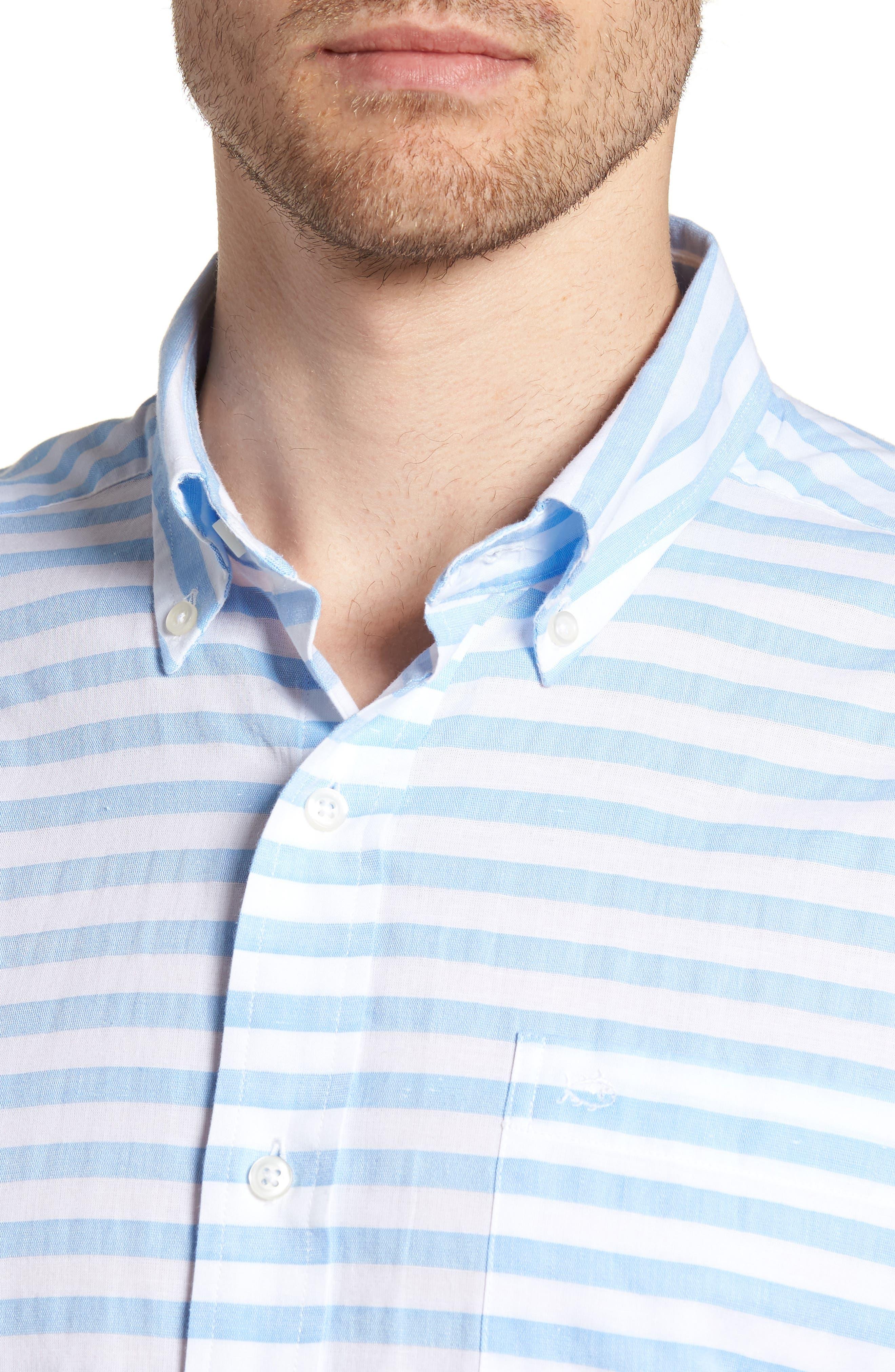 Toe Side Stripe Short Sleeve Sport Shirt,                             Alternate thumbnail 4, color,                             392