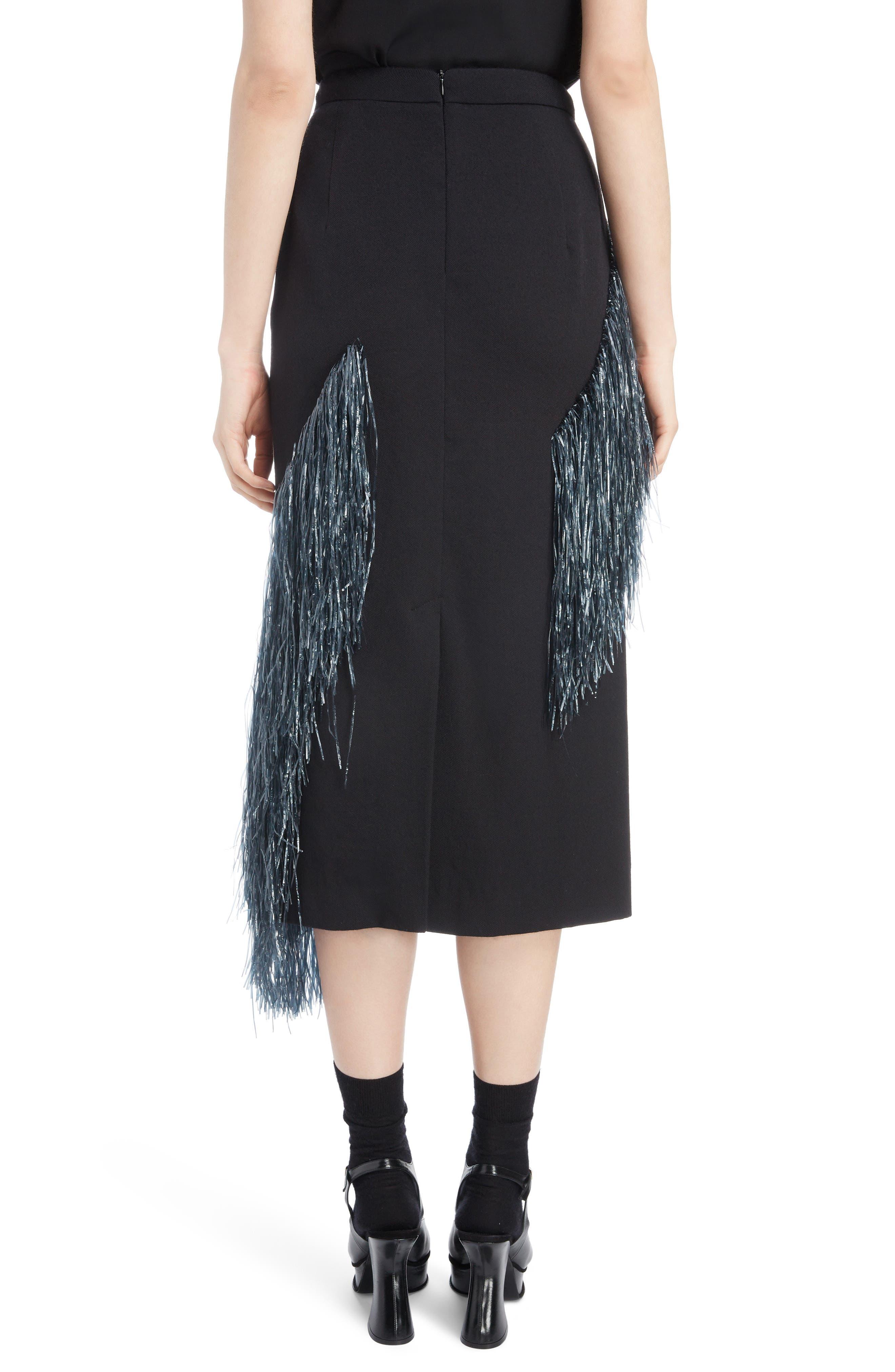 Raffia Fringe Skirt,                             Alternate thumbnail 2, color,                             ANTHRACITE