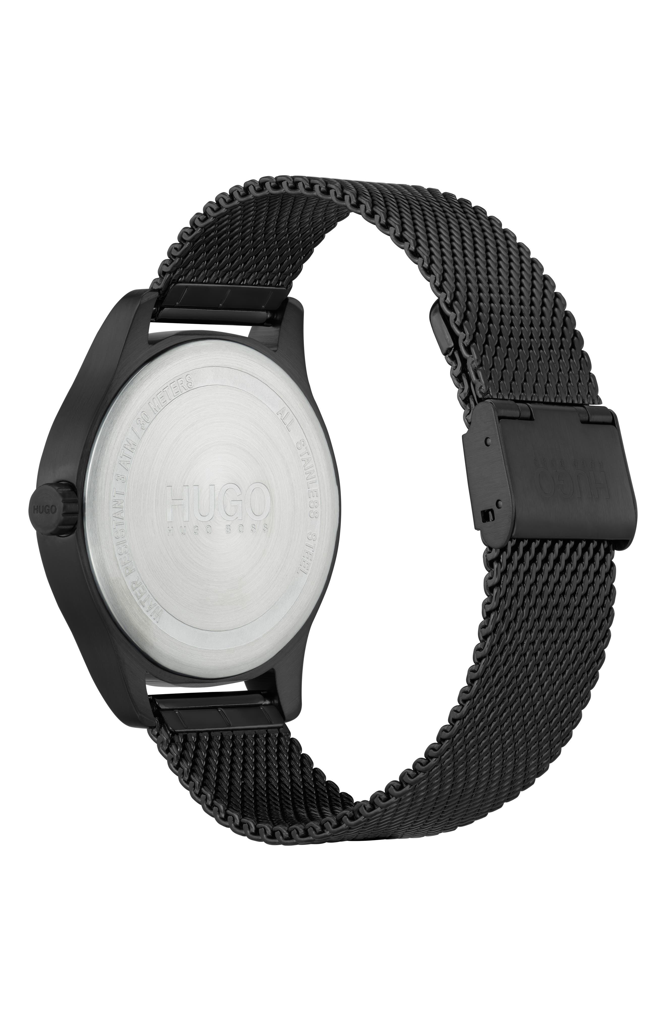 Mesh Strap Bracelet, 42mm,                             Alternate thumbnail 2, color,                             BLACK