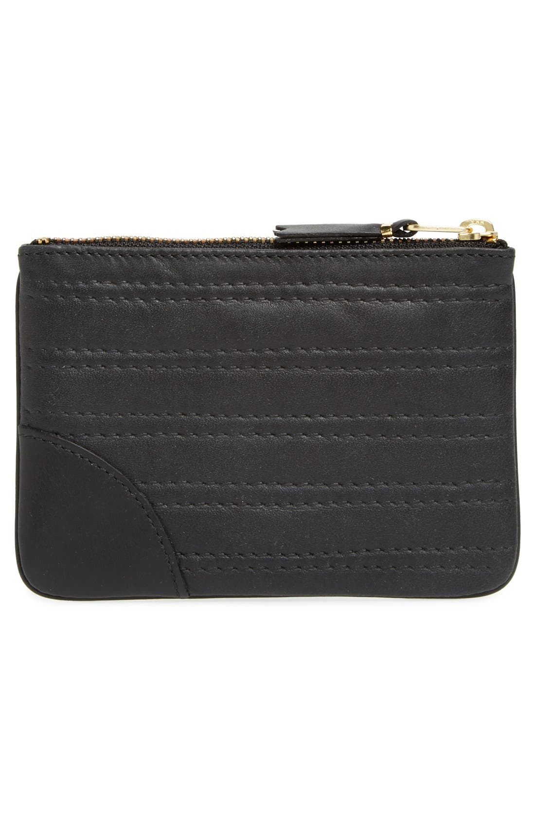 Embossed Leather Top Zip Pouch Wallet,                             Alternate thumbnail 2, color,                             001