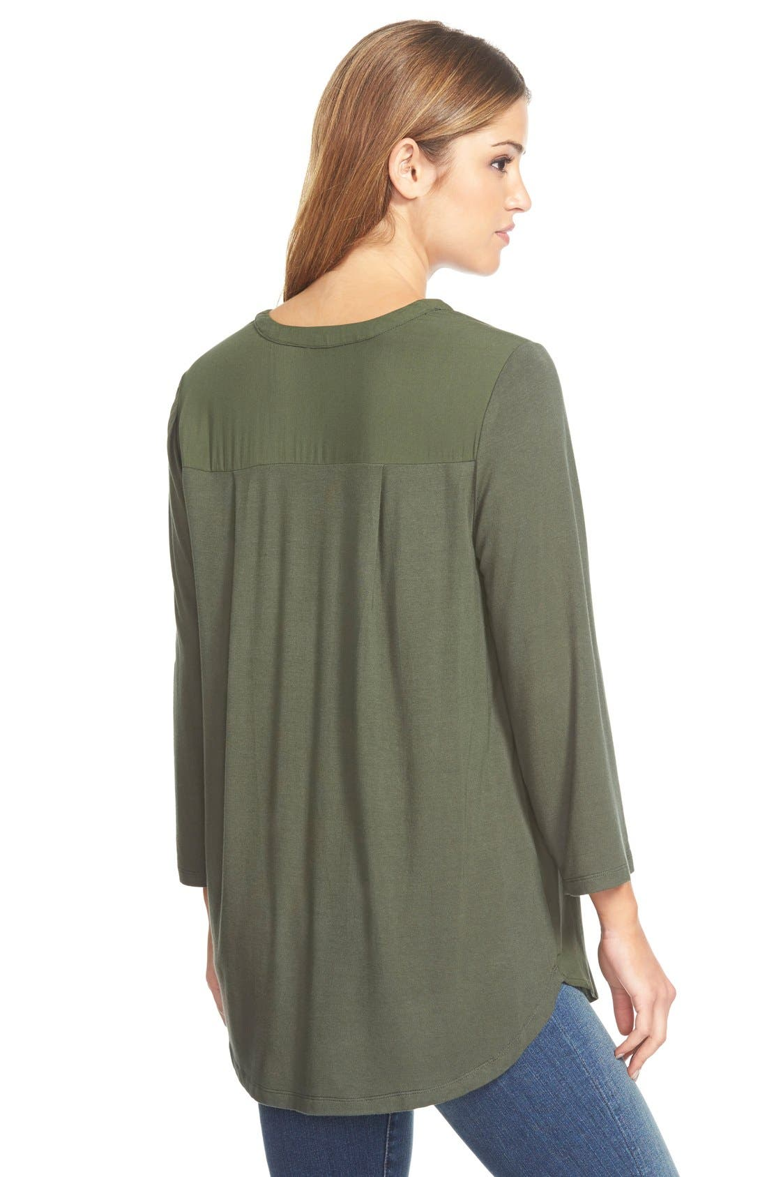 Mixed Media V-Neck Tunic,                             Alternate thumbnail 182, color,