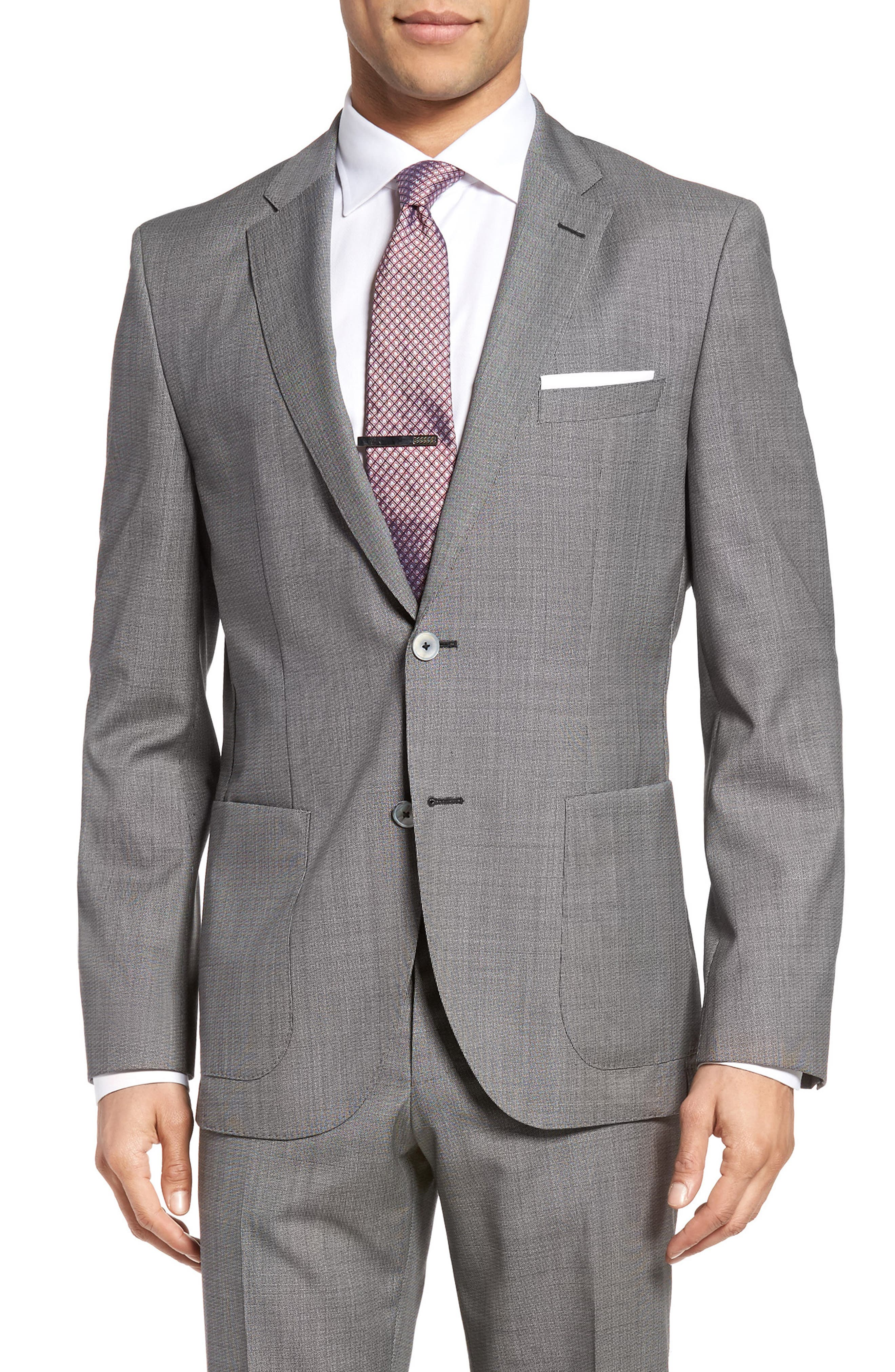 Janon/Lenon Trim Fit Solid Wool Suit,                             Alternate thumbnail 5, color,                             020