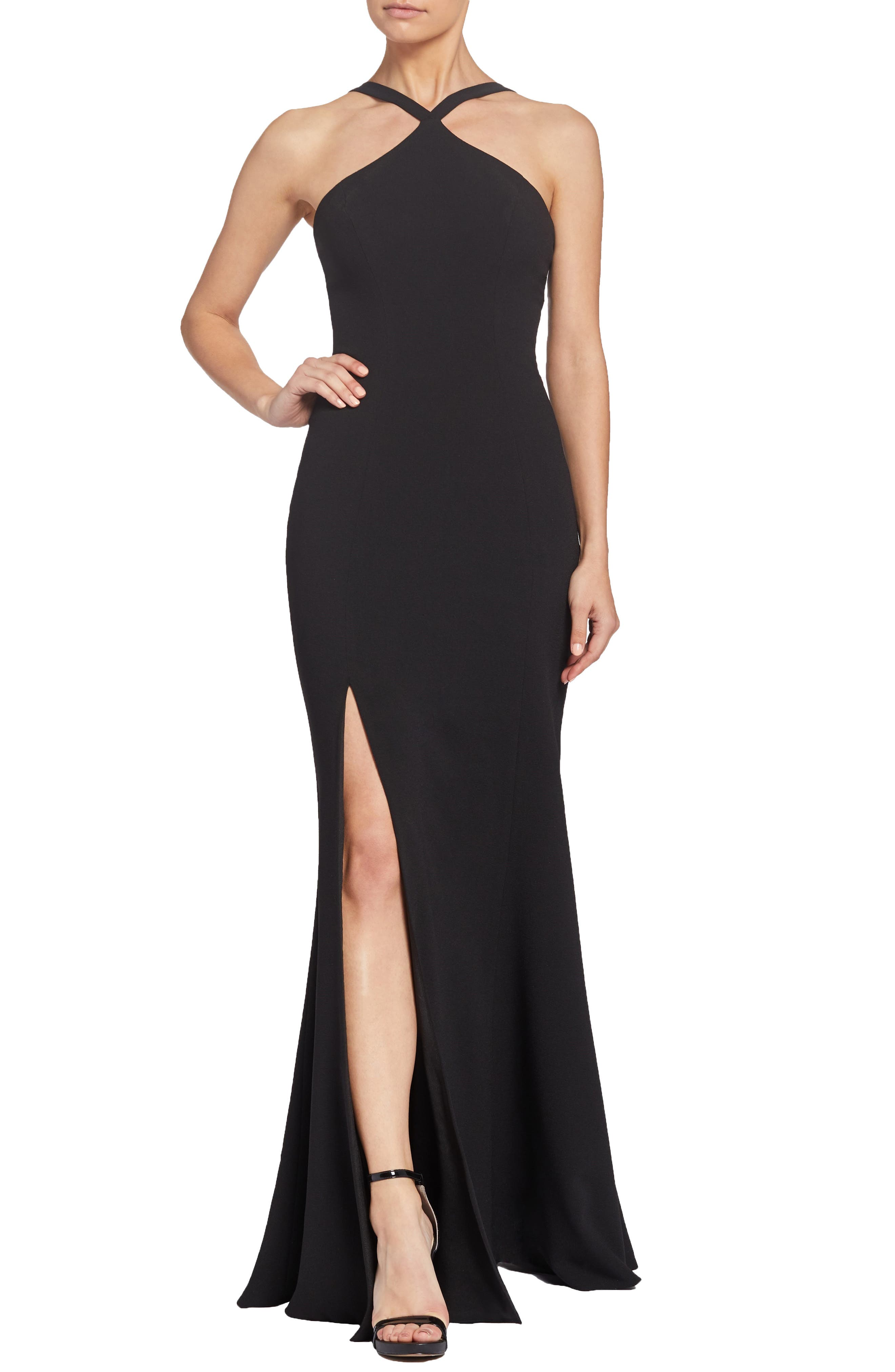 Brianna Halter Style Trumpet Gown,                             Main thumbnail 1, color,                             BLACK
