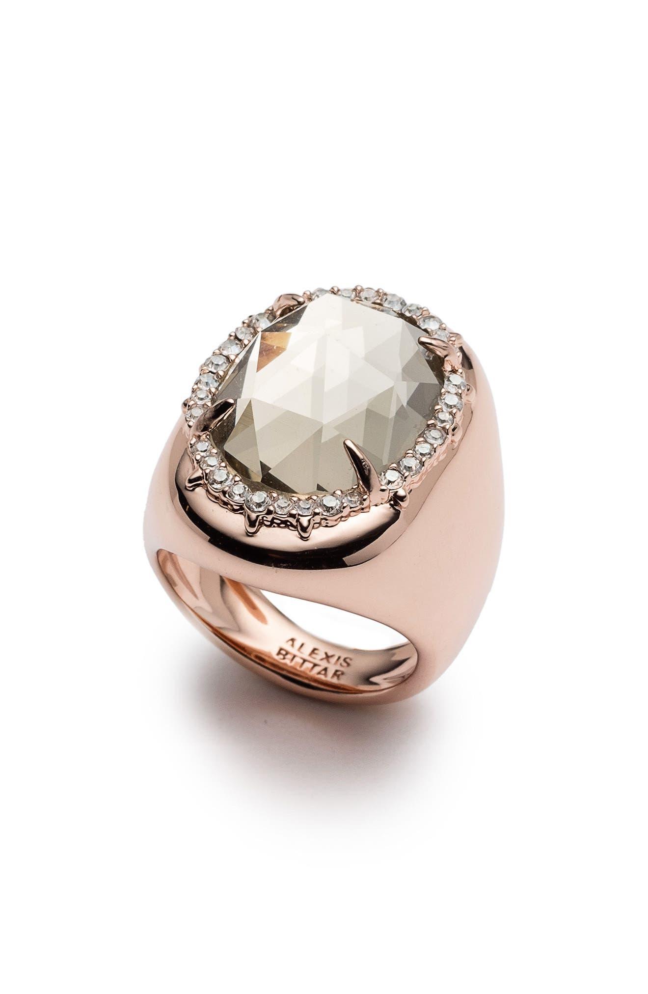 Halo Signet Ring,                             Main thumbnail 1, color,                             ROSE GOLD