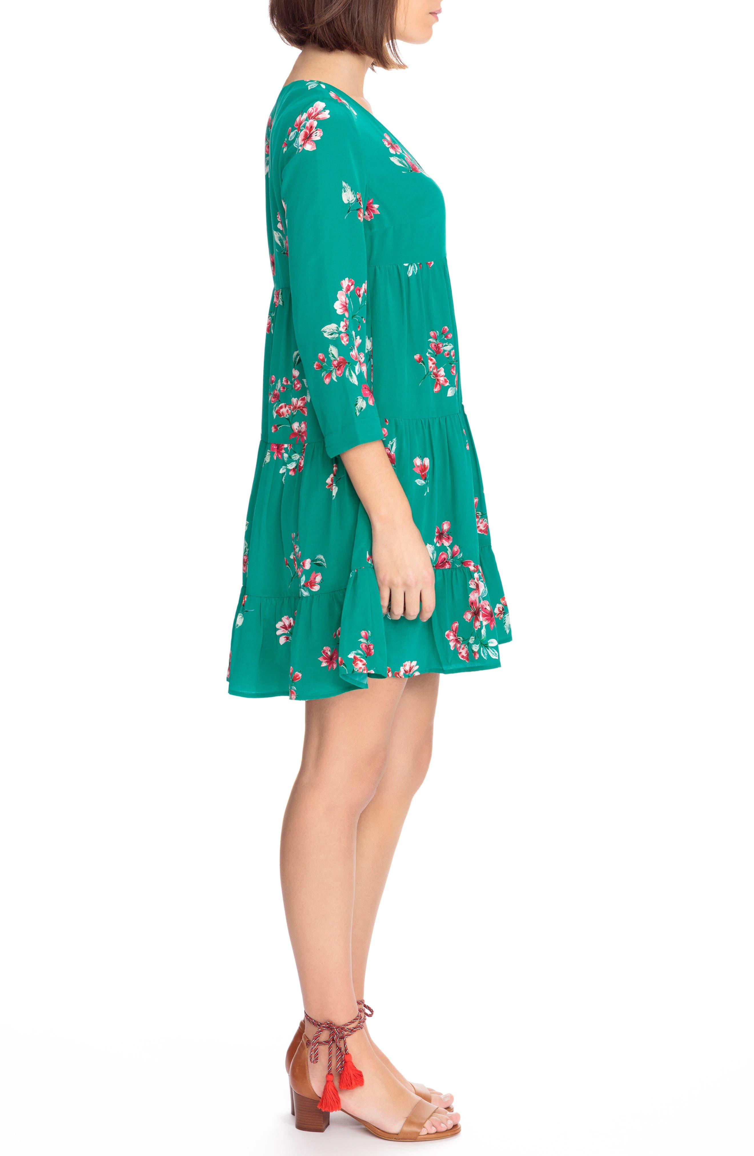 Aure Silk A-Line Dress,                             Alternate thumbnail 9, color,