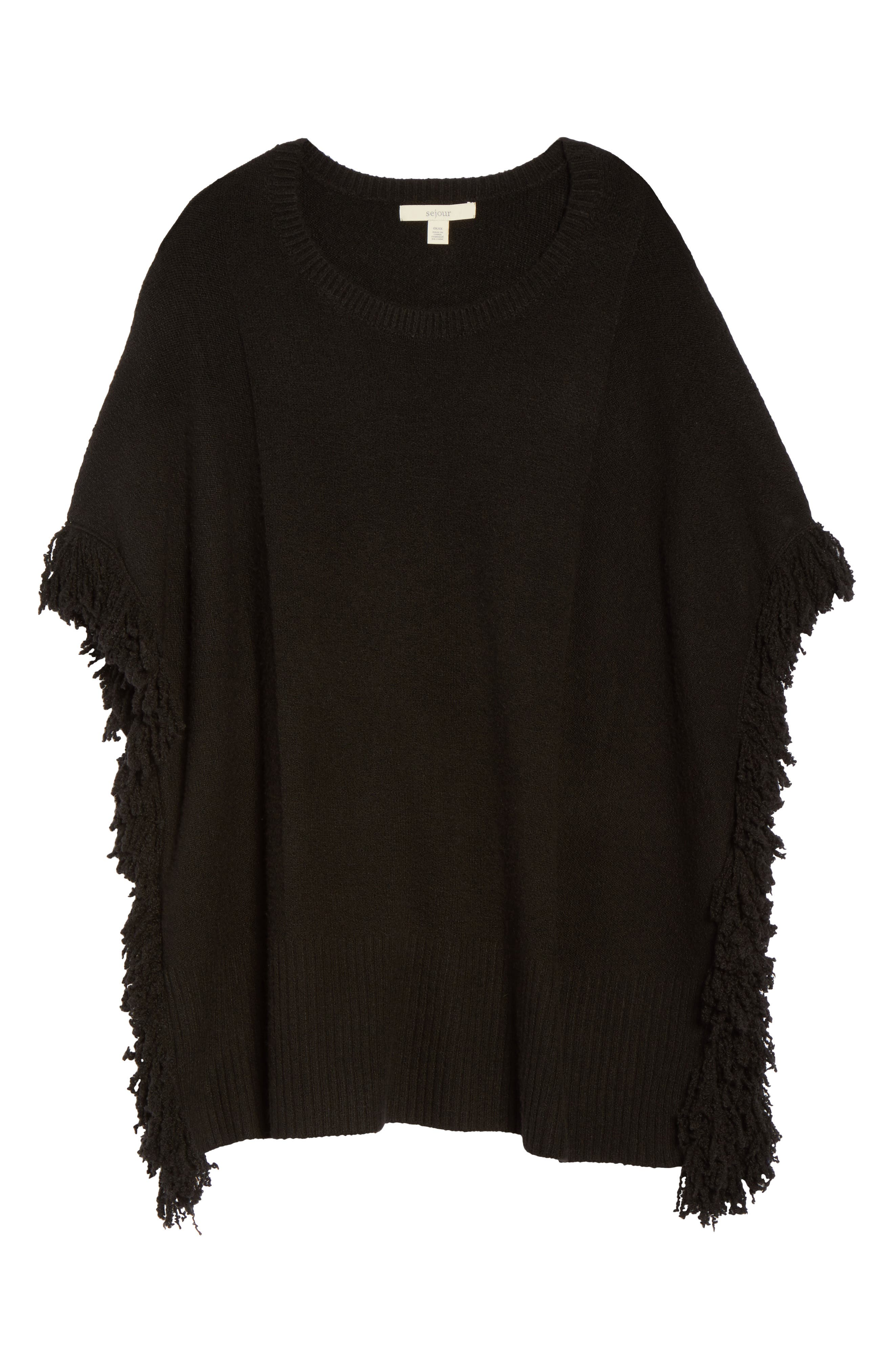Fringe Poncho Sweater,                             Alternate thumbnail 6, color,                             001