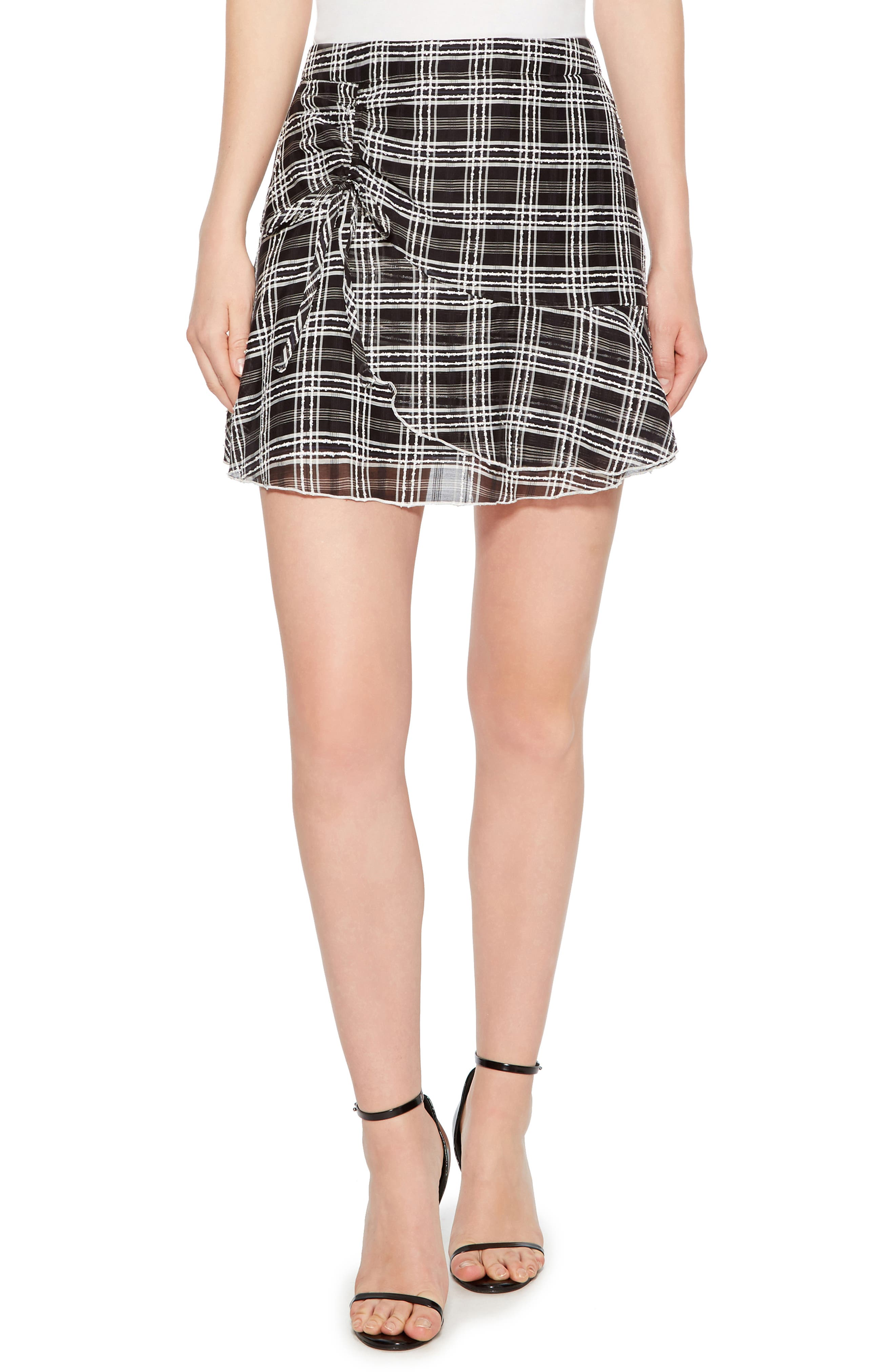 Chris Side Ruched Miniskirt,                             Main thumbnail 1, color,                             BLACK/ WHITE
