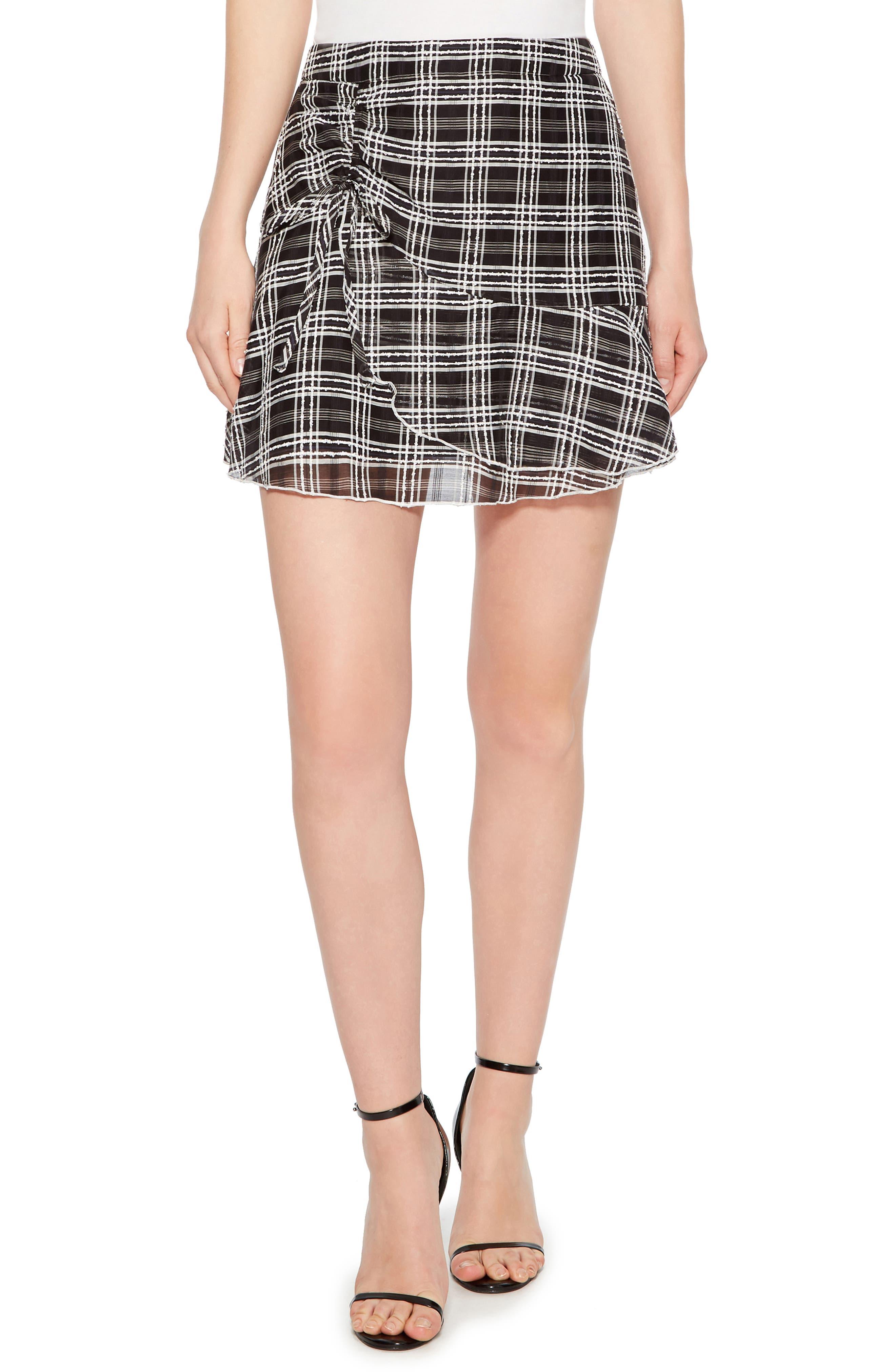 Chris Side Ruched Miniskirt,                         Main,                         color, BLACK/ WHITE