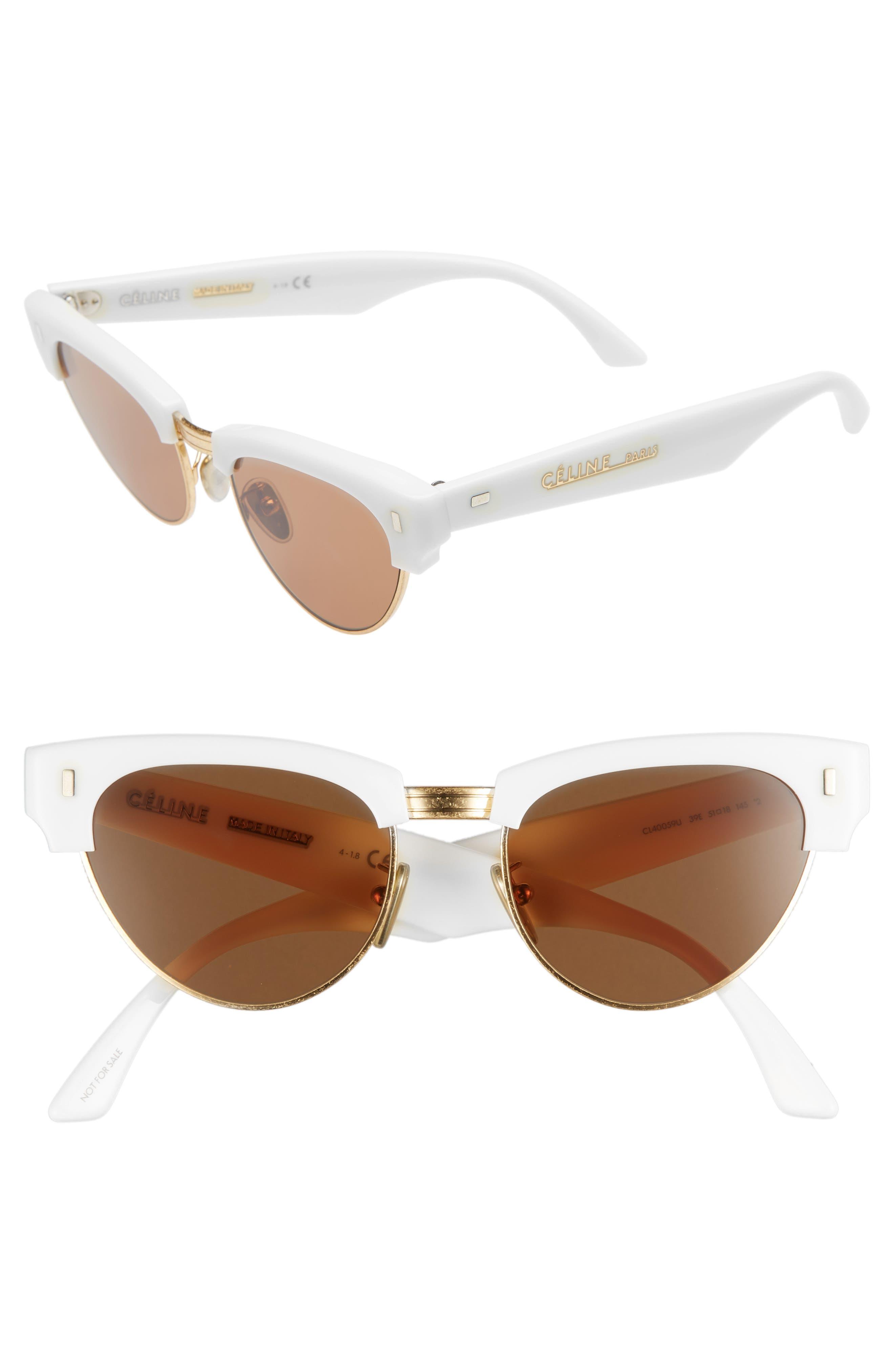 51Mm Modified Cat Eye Sunglasses - Shiny Ivory
