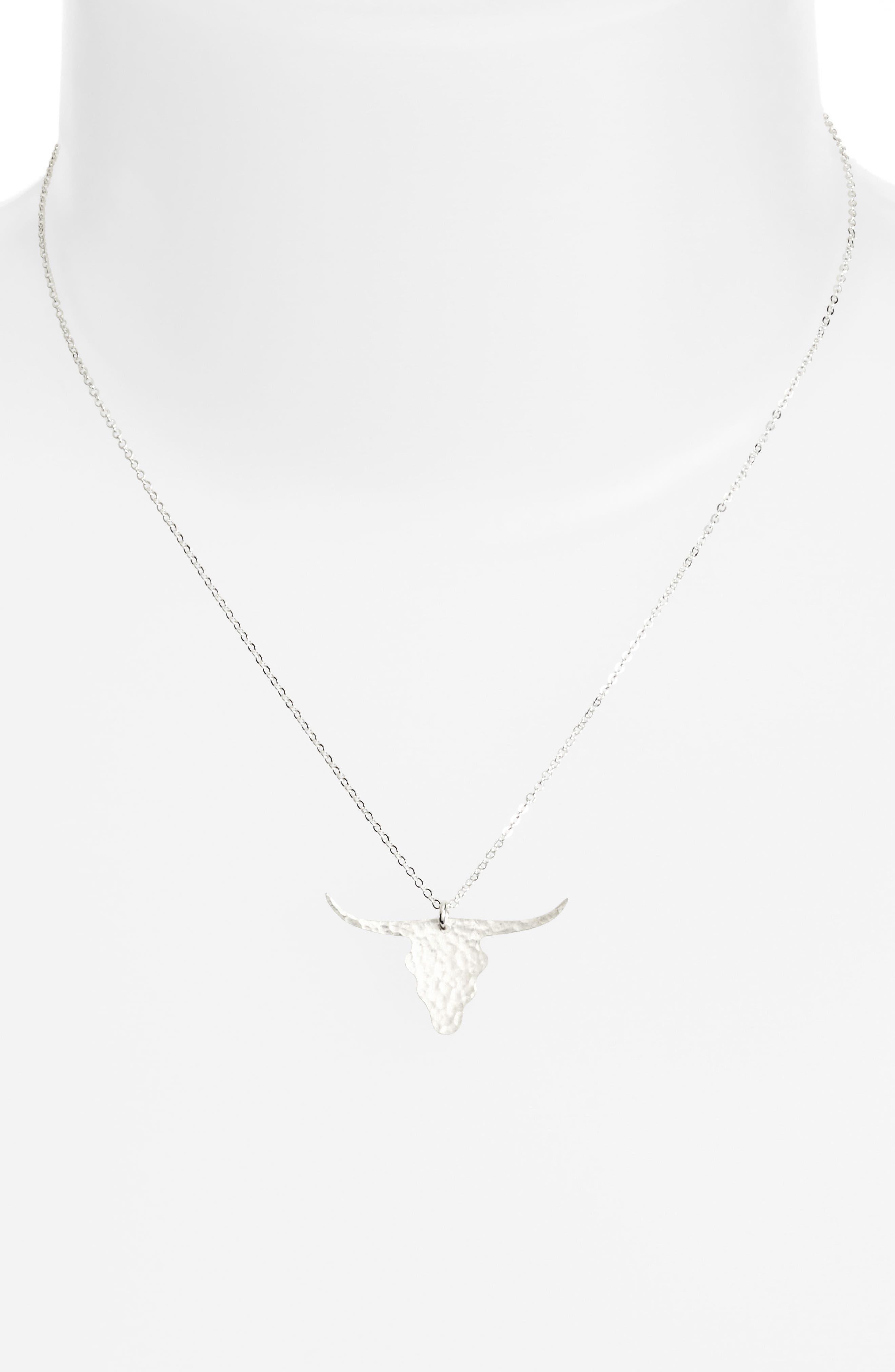Longhorn Pendant Necklace,                         Main,                         color, 040