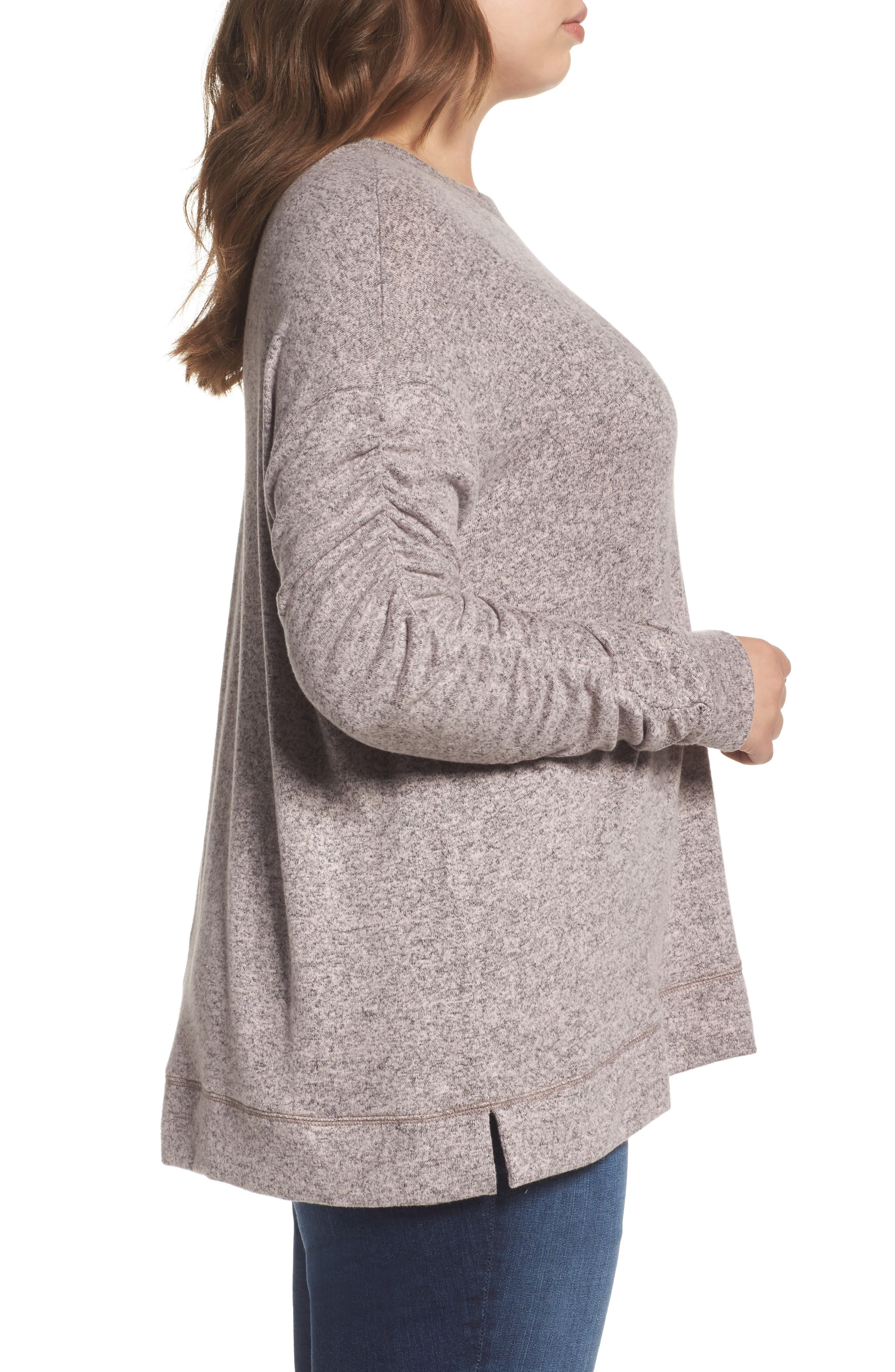 Ruched Sleeve Cozy Pullover,                             Alternate thumbnail 6, color,