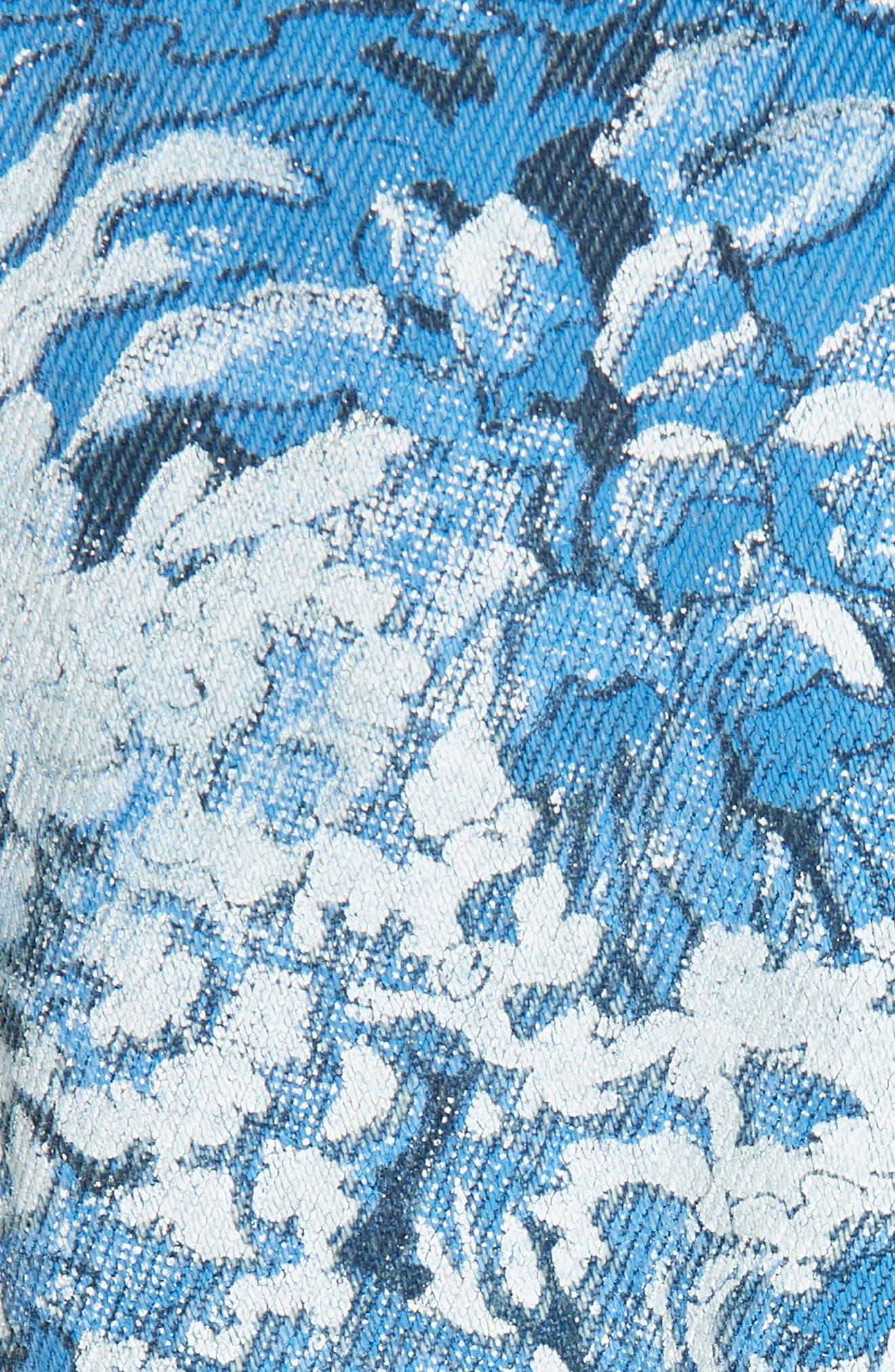 Tapestry Print Crop Denim Jacket,                             Alternate thumbnail 5, color,                             MEDIUM BLUE